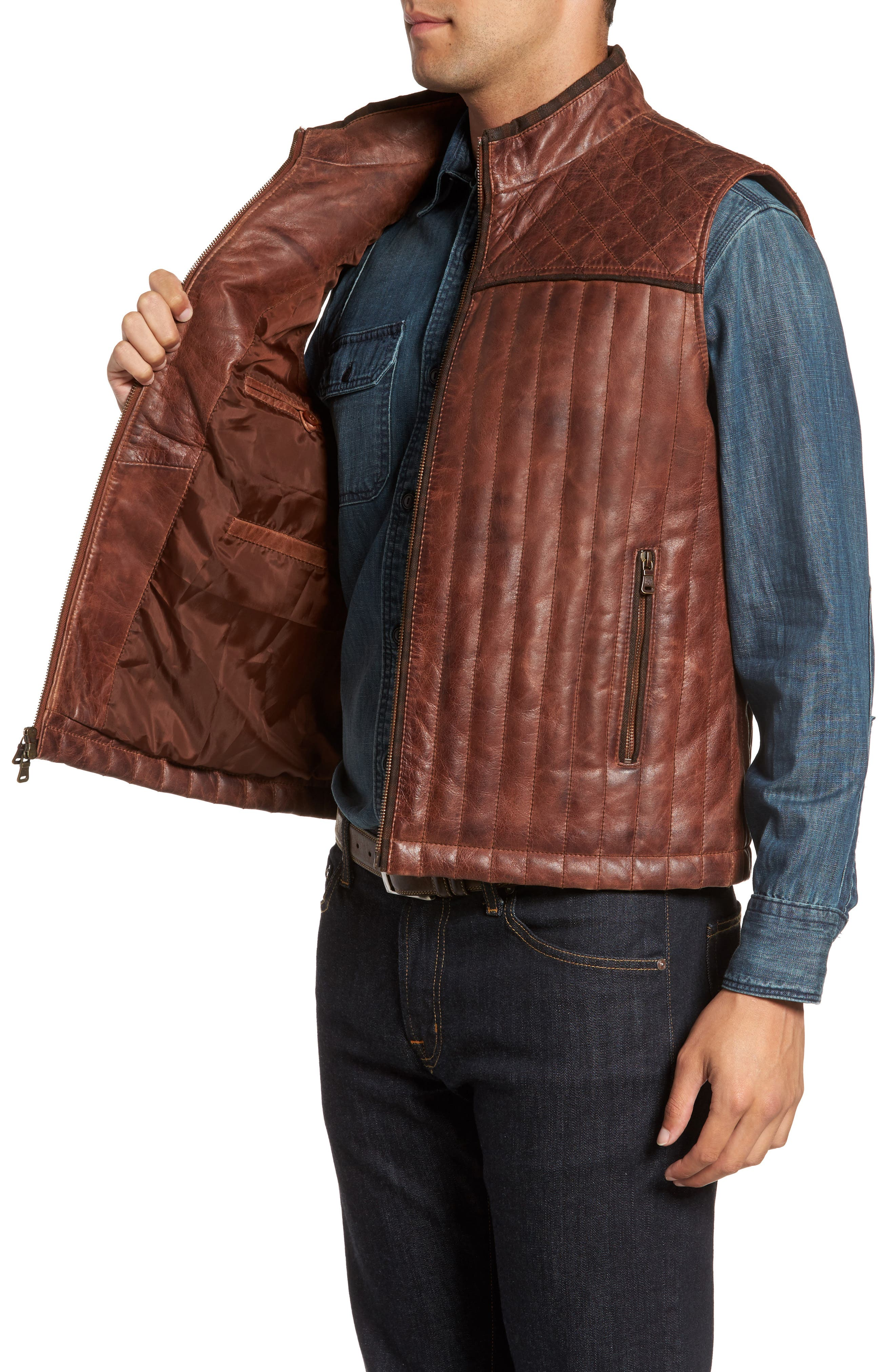Quilted Leather Vest,                             Alternate thumbnail 3, color,