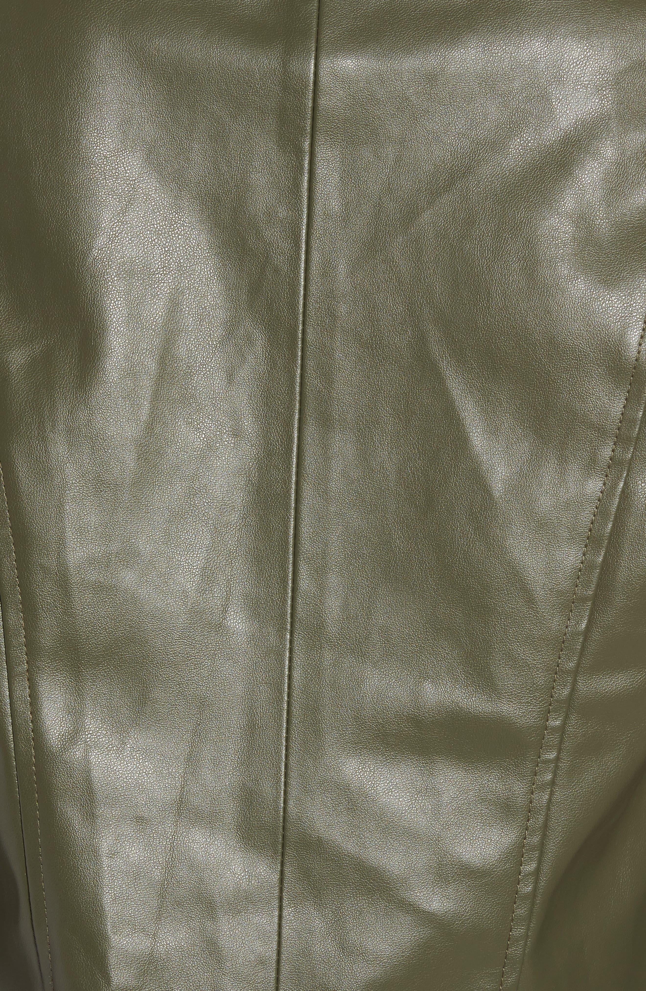 'Peppin' Drape Front Faux Leather Jacket,                             Alternate thumbnail 43, color,