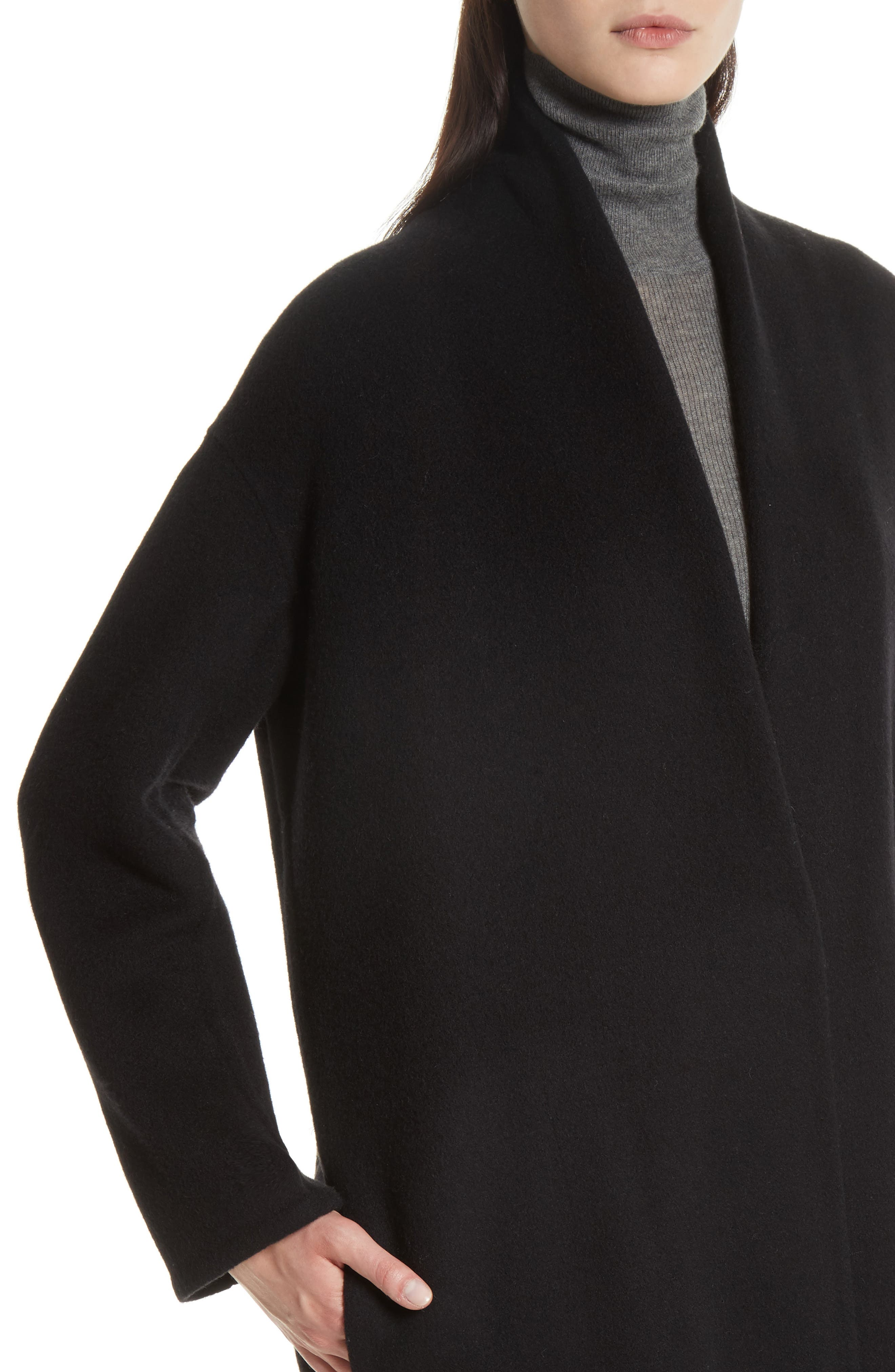 VINCE,                             High Collar Long Wool Blend Coat,                             Alternate thumbnail 4, color,                             001