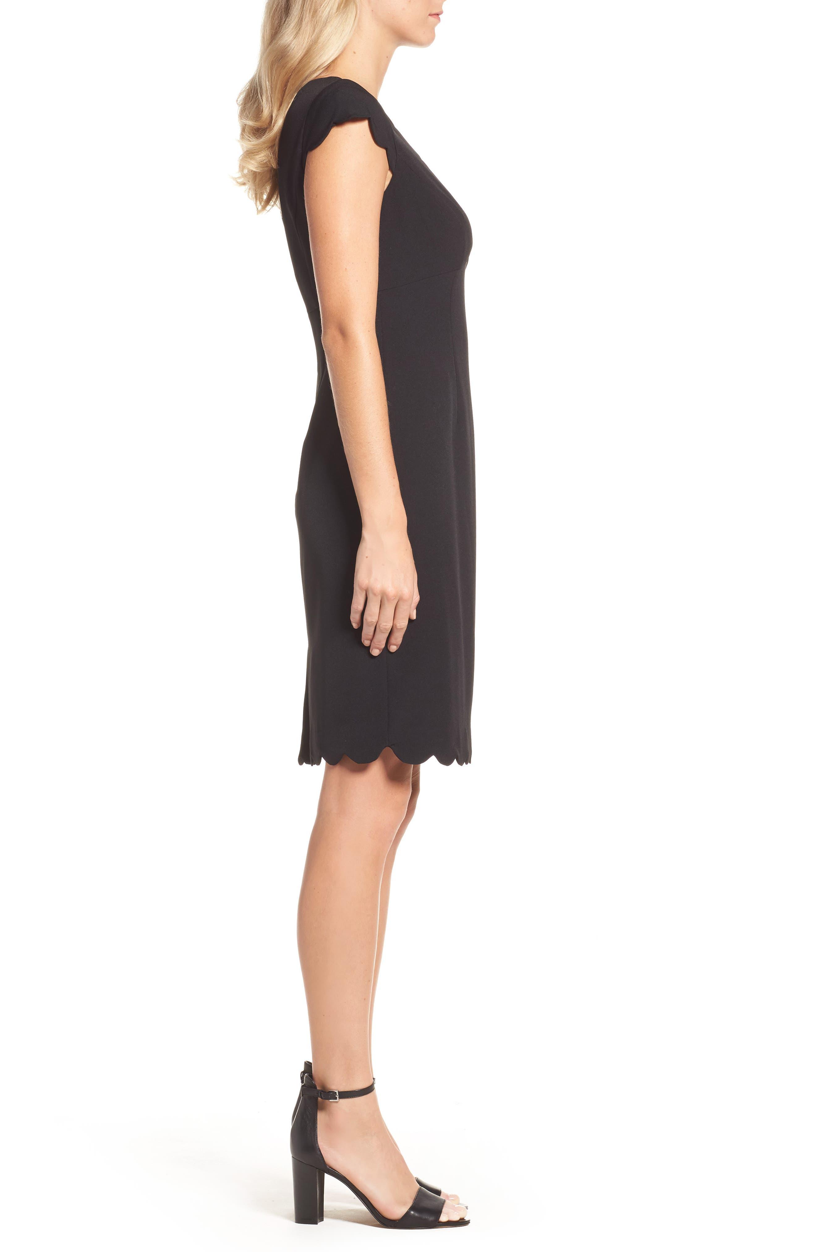 ADRIANNA PAPELL,                             Scalloped Crepe Sheath Dress,                             Alternate thumbnail 3, color,                             001