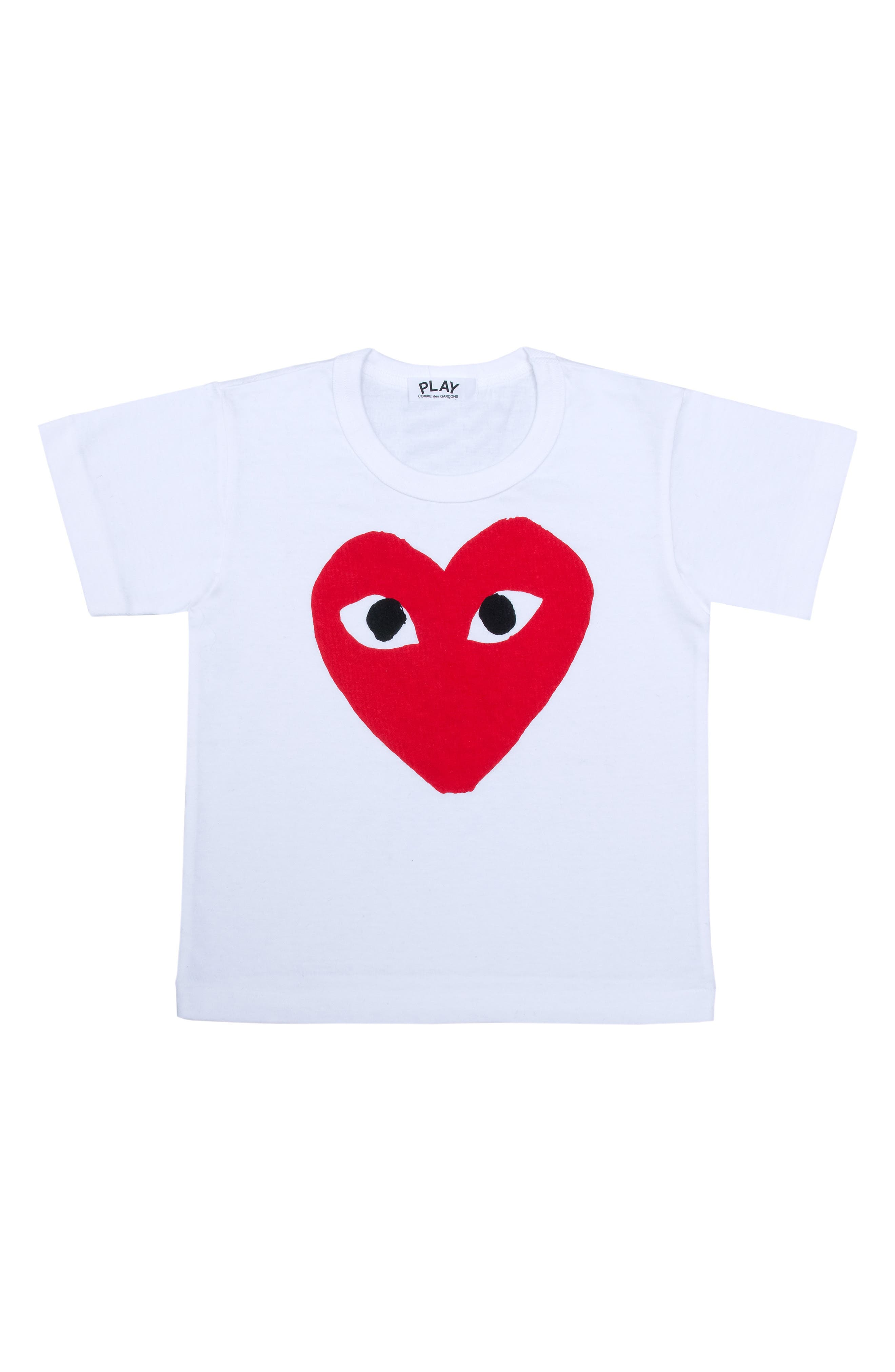 COMME DES GARÇONS PLAY,                             Heart Face Graphic T-Shirt,                             Main thumbnail 1, color,                             WHITE