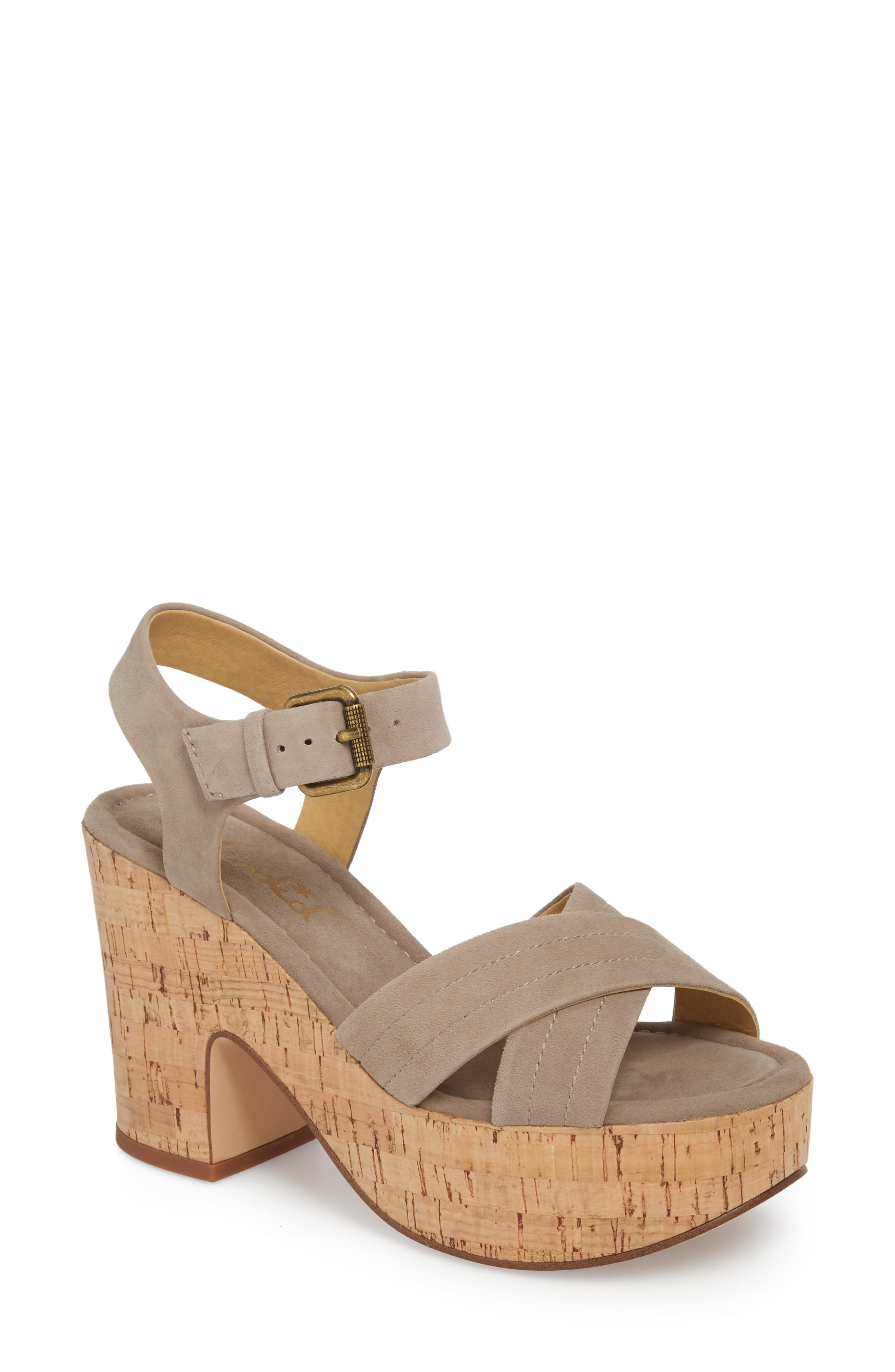 Flaire Platform Sandal,                             Main thumbnail 1, color,                             TAUPE SUEDE