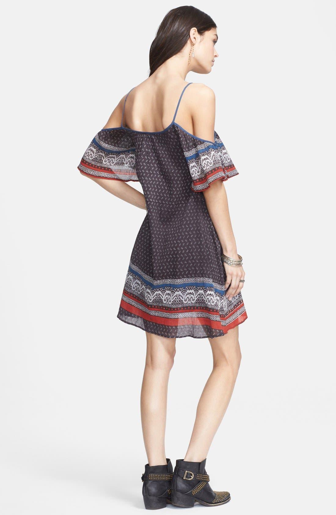 Cold Shoulder Cotton Peasant Dress,                             Alternate thumbnail 2, color,                             001