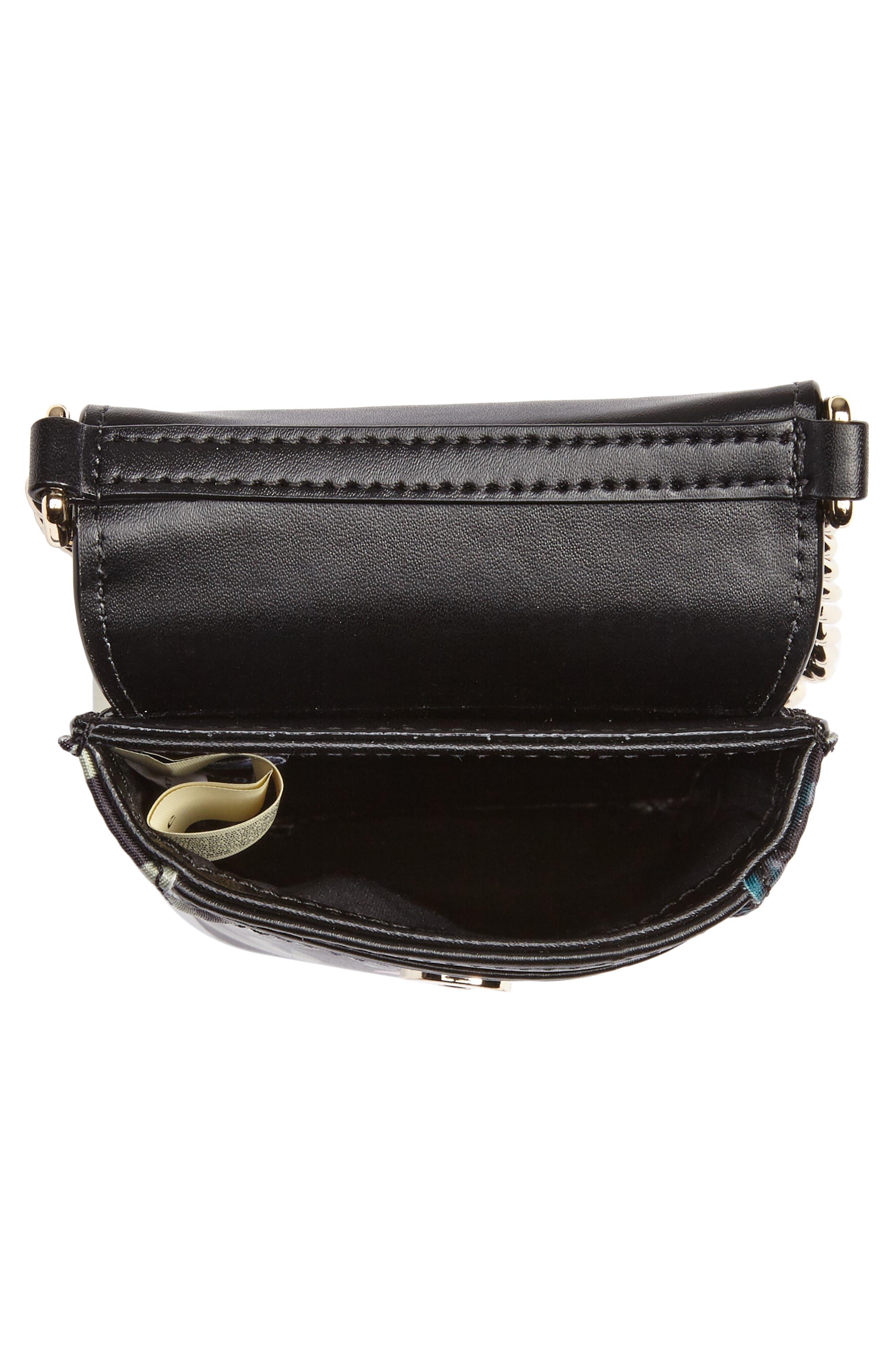 botanical print leather phone crossbody bag,                             Alternate thumbnail 4, color,
