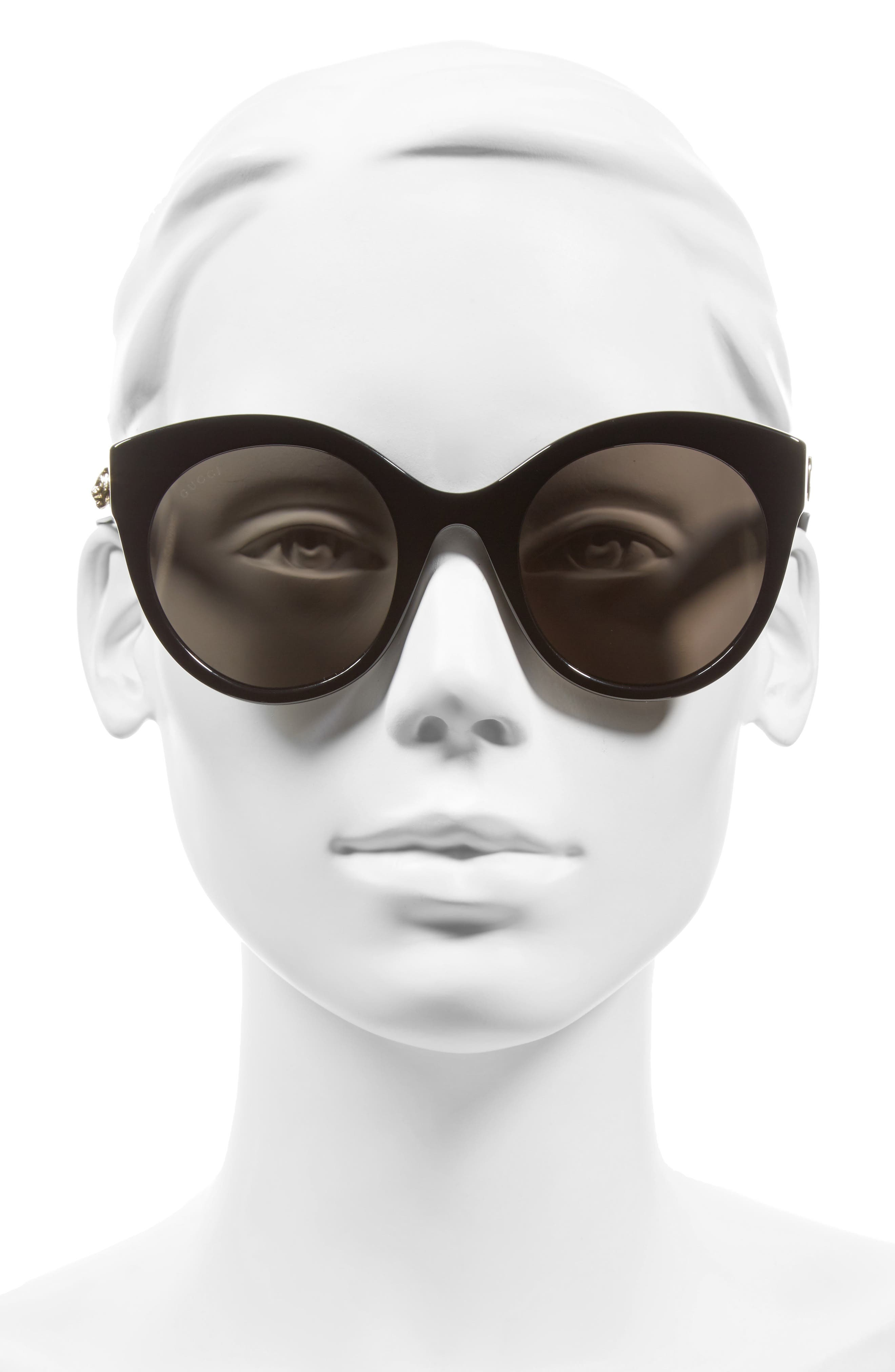 52mm Cat Eye Sunglasses,                             Alternate thumbnail 3, color,                             001