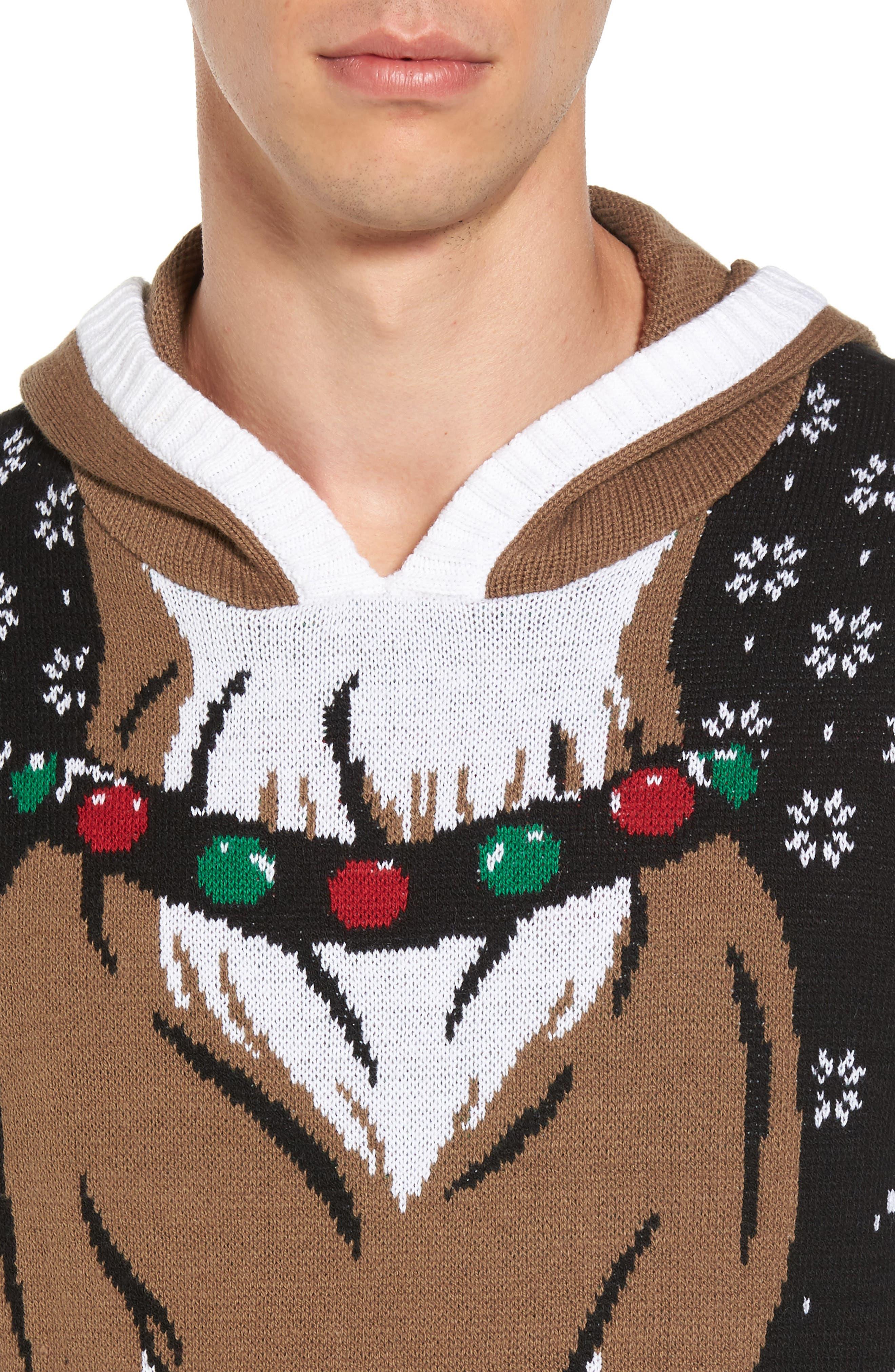 Reindeer Hooded Sweater,                             Alternate thumbnail 4, color,                             001