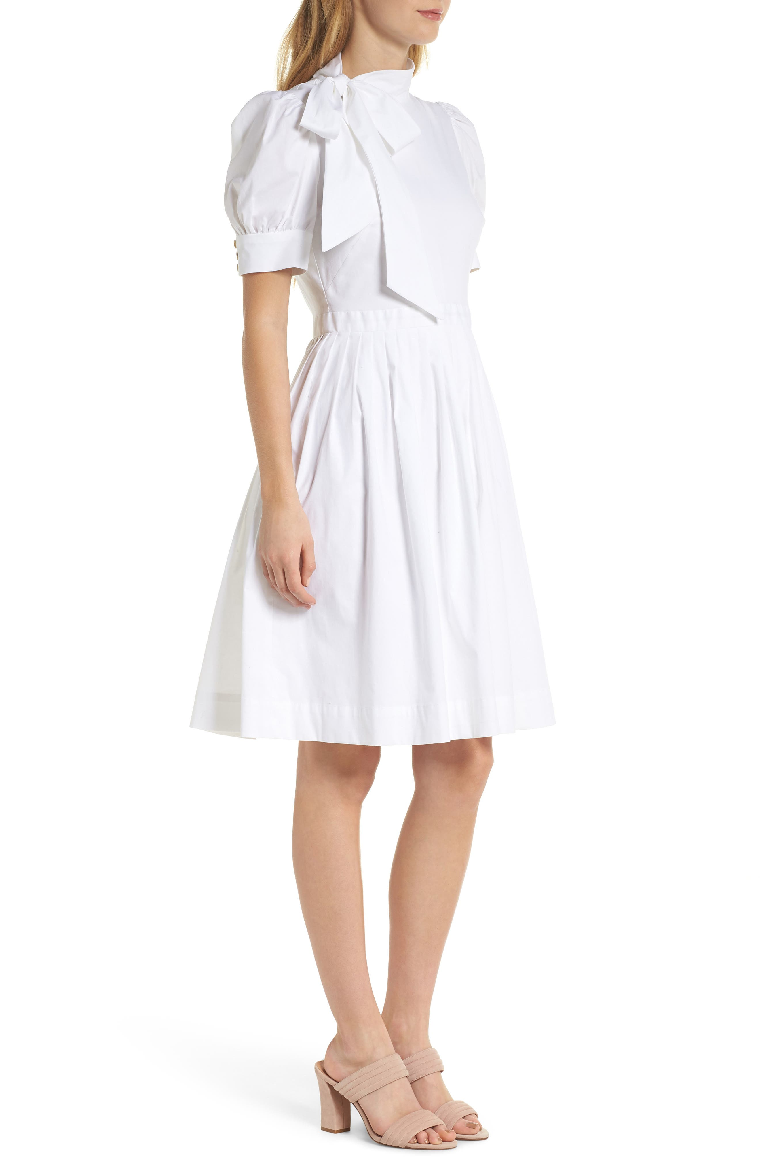 Hanna Puff Sleeve Cotton Poplin Dress,                             Alternate thumbnail 3, color,                             101