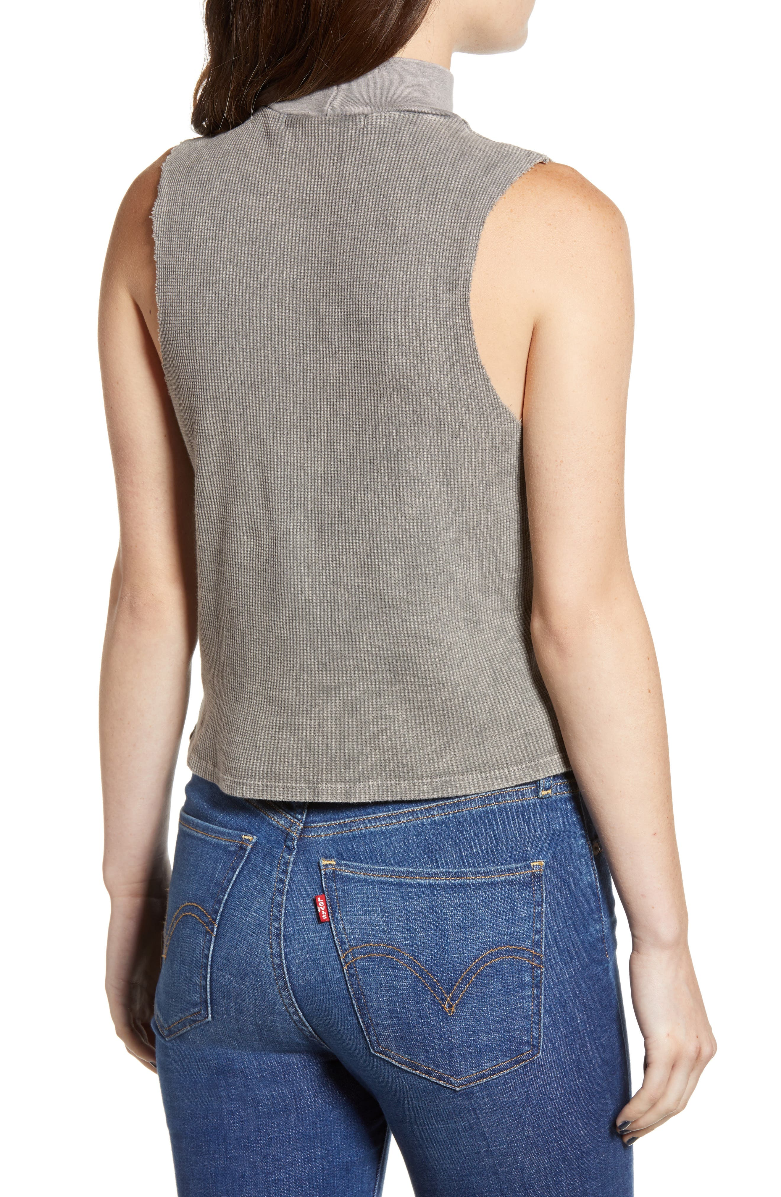Annie Thermal Sleeveless Mock Neck Top,                             Alternate thumbnail 2, color,                             MW SMOKY NOIR
