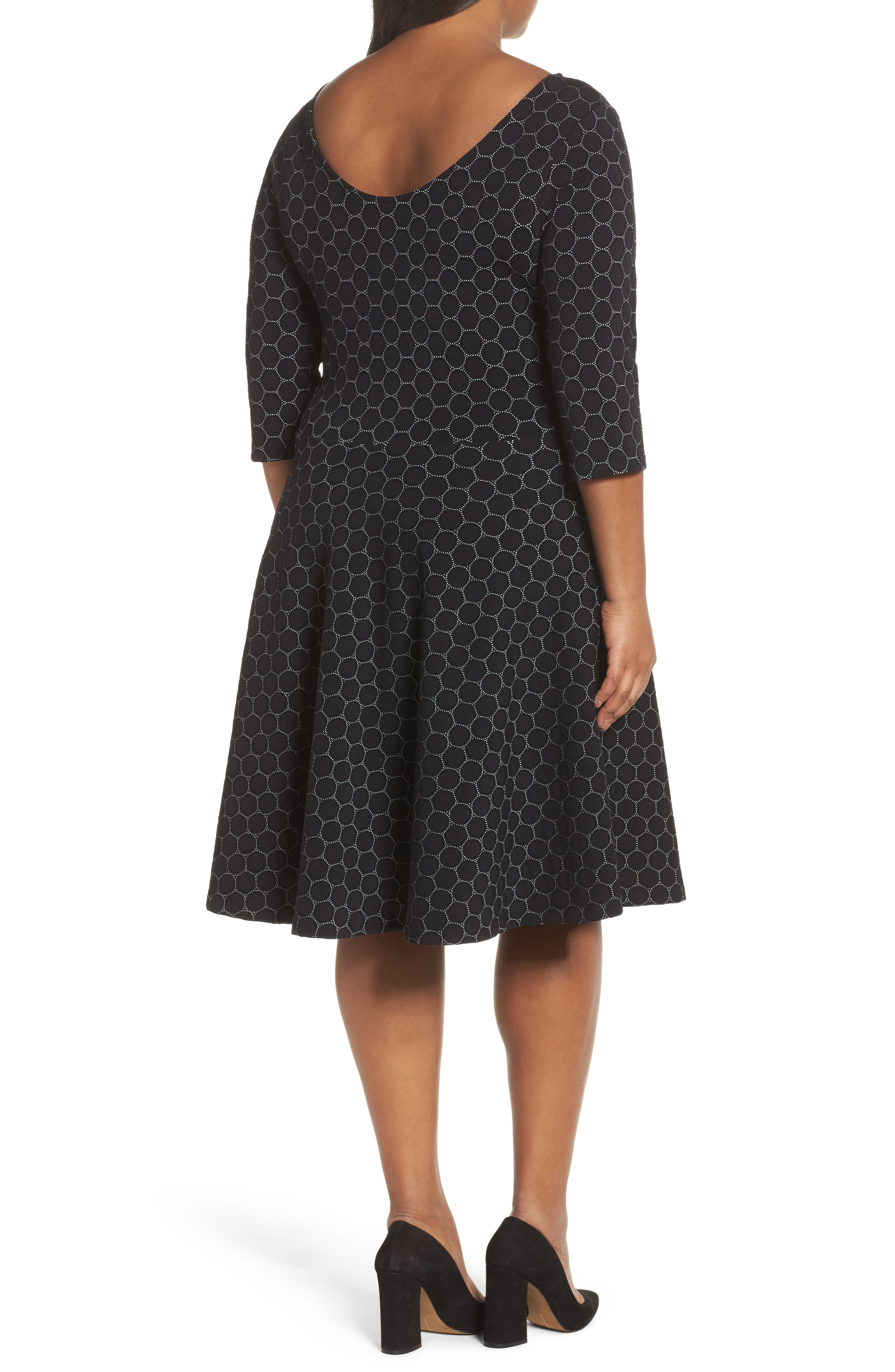 Circle Knit Fit & Flare Dress,                             Alternate thumbnail 2, color,                             BLACK LUXE