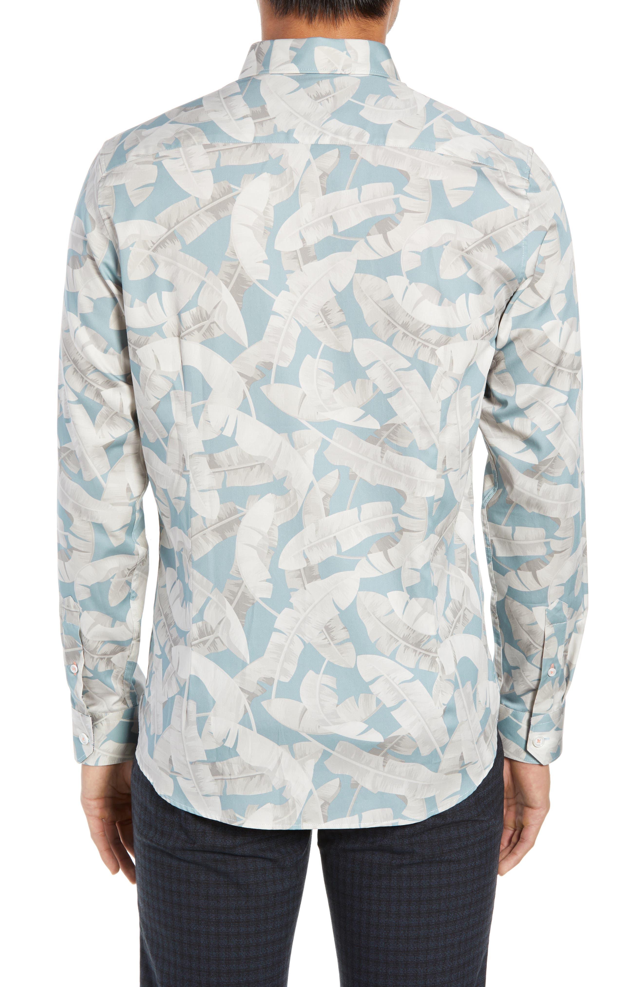 Ramsey Banana Leaf Print Shirt,                             Alternate thumbnail 3, color,                             BLUE
