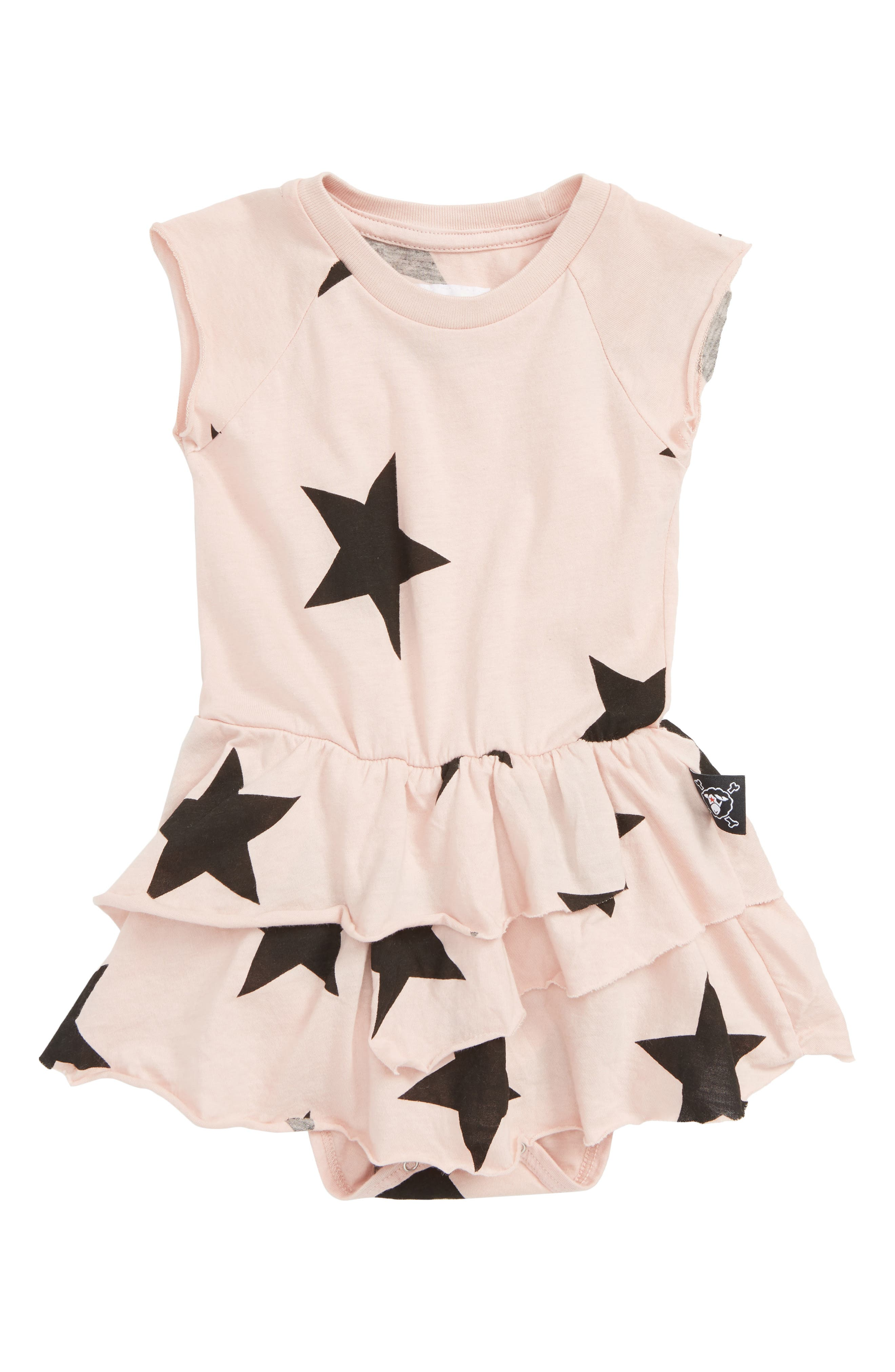 Star All in One Skirted Bodysuit,                             Main thumbnail 1, color,                             POWDER PINK