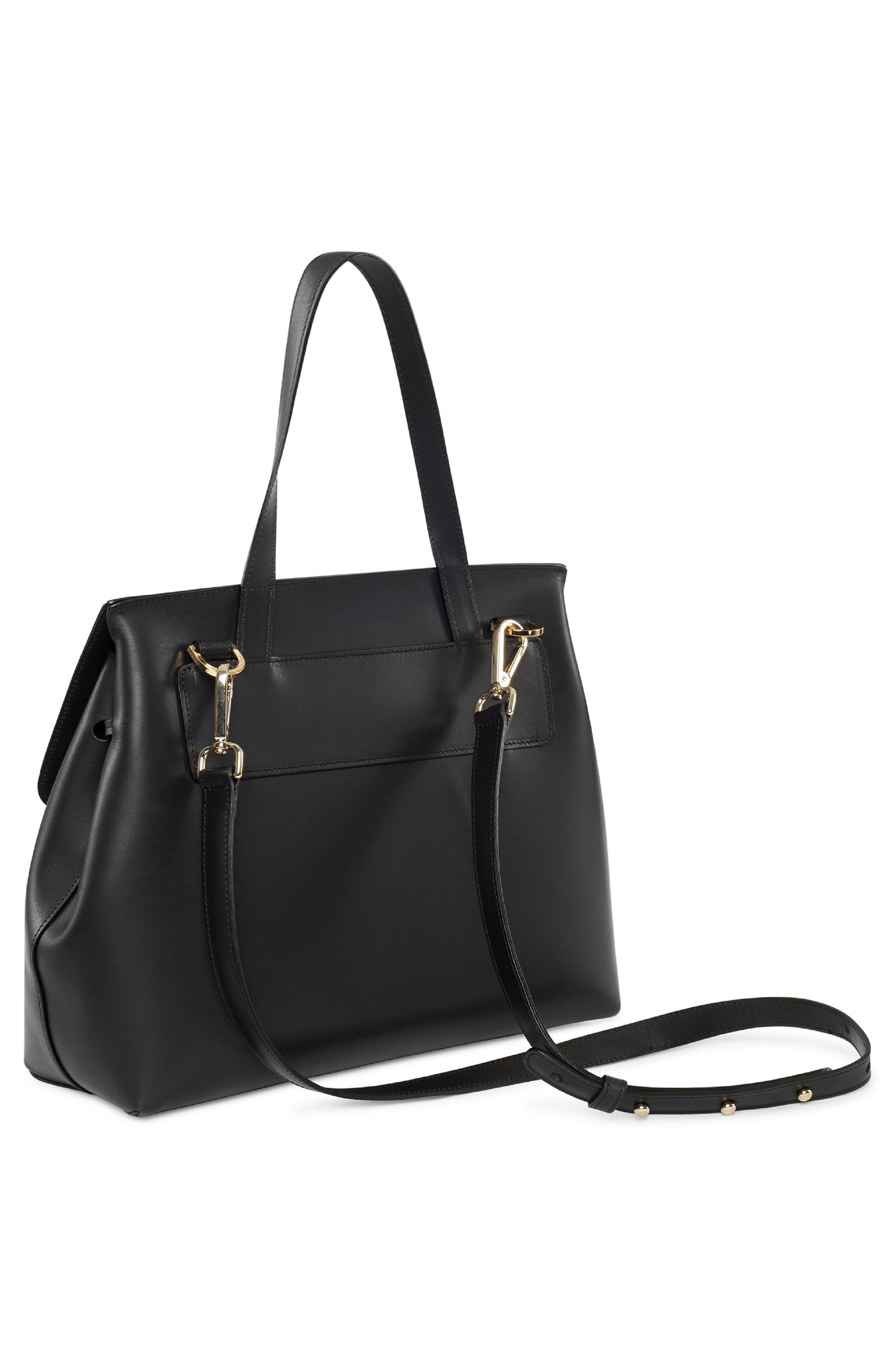 Mini Lady Leather Bag,                             Alternate thumbnail 3, color,                             BLACK/ FLAMMA