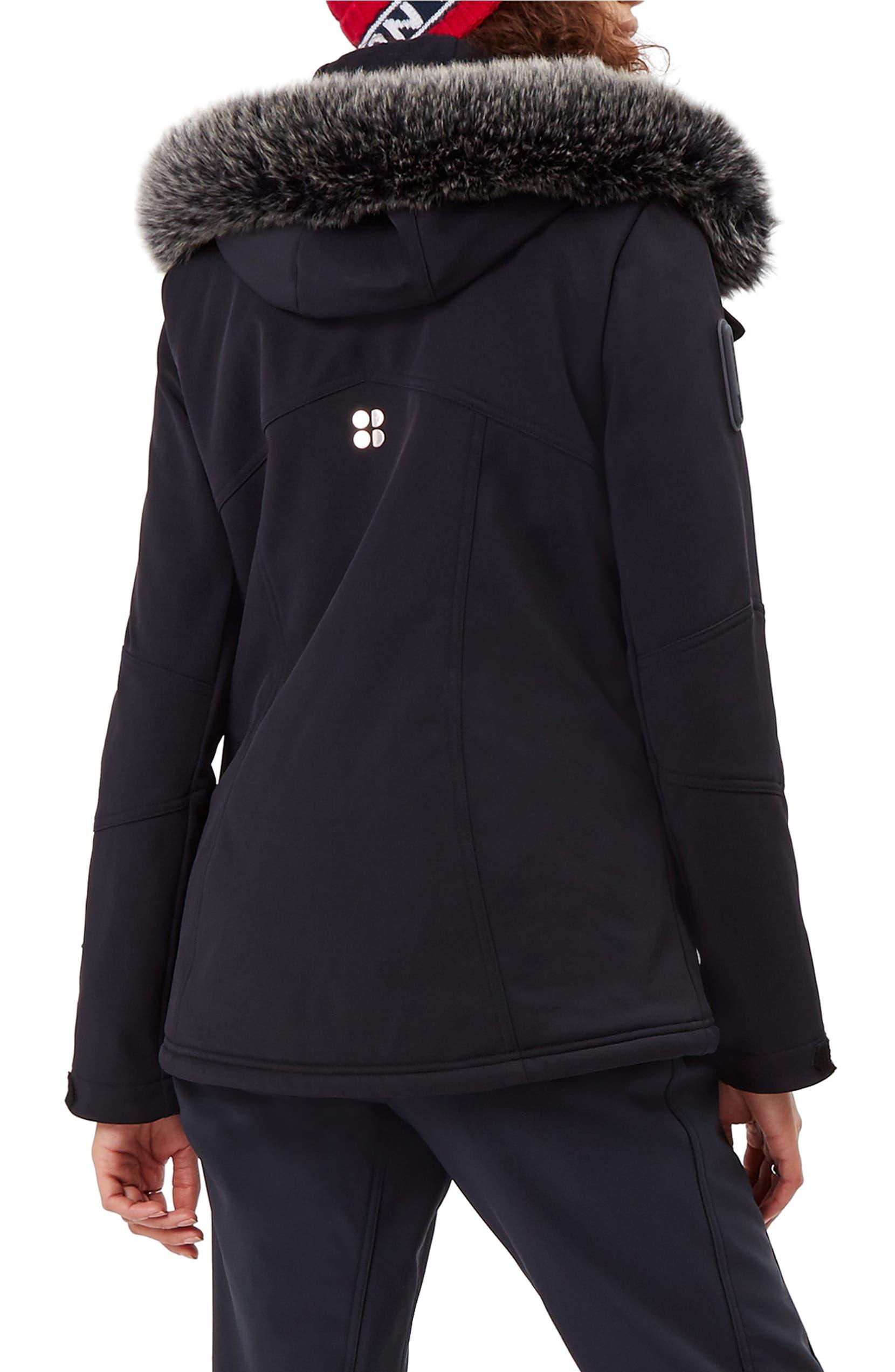 11a95433246 Sweaty Betty Exploration Soft Shell Ski Jacket with Faux Fur Trim ...