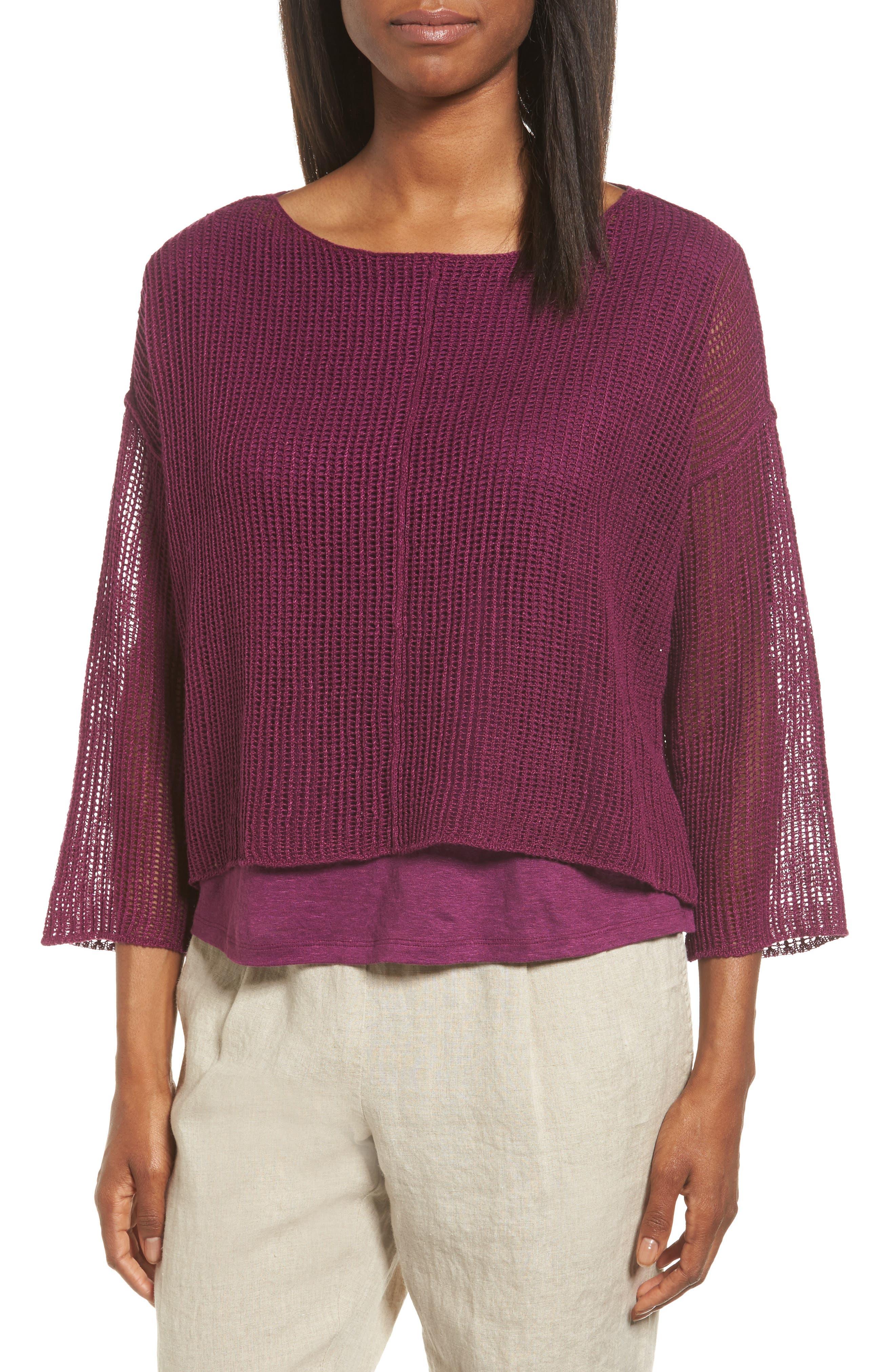 Organic Linen Crop Sweater,                             Main thumbnail 5, color,