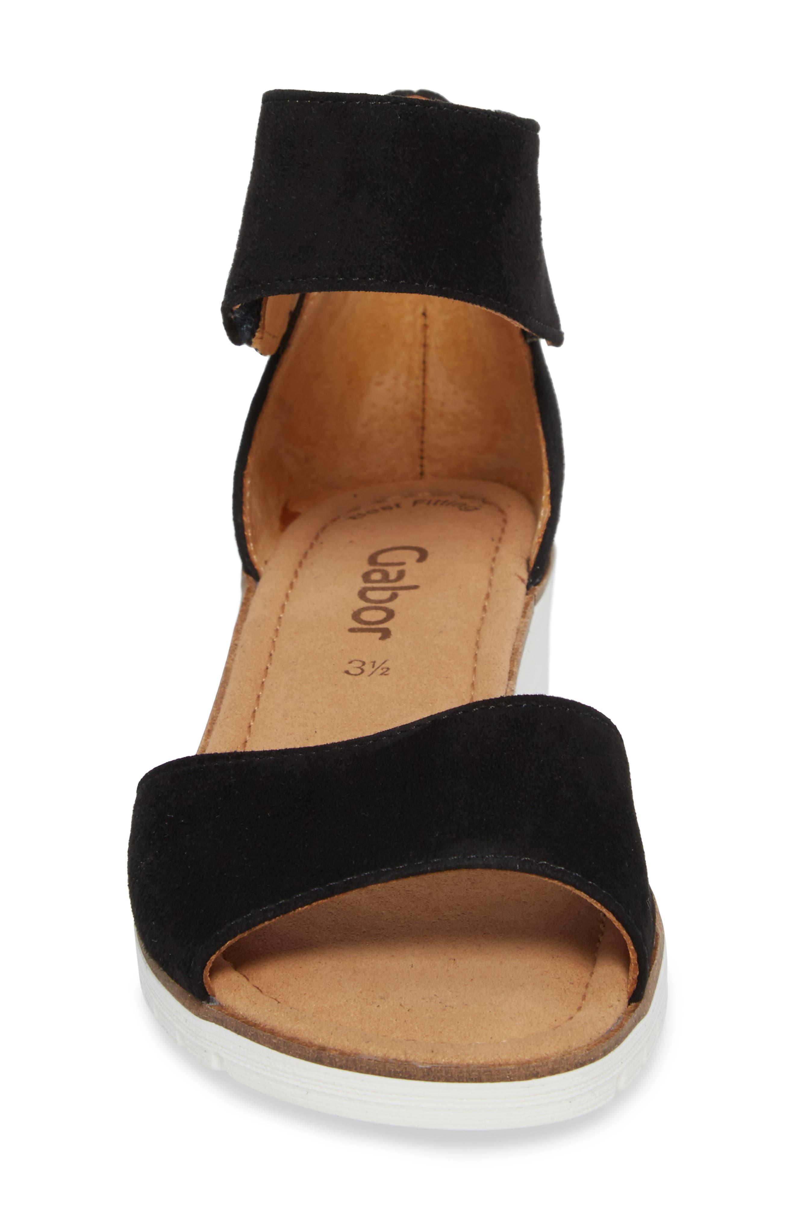 Ankle Strap Sandal,                             Alternate thumbnail 4, color,                             BLACK SUEDE