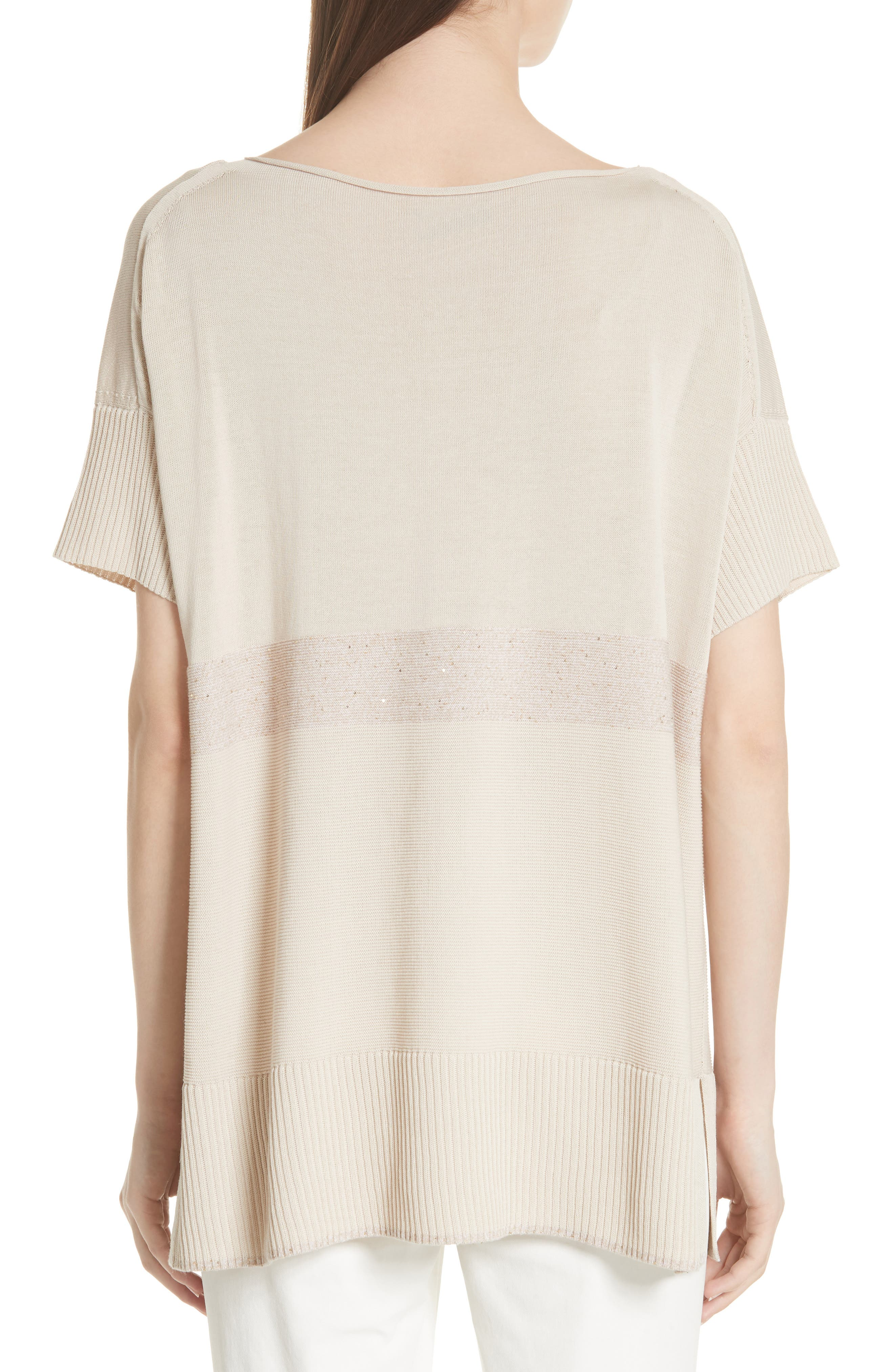 Cotton Crepe Yarn Sequin Stripe Sweater,                             Alternate thumbnail 2, color,                             RAFFIA MULTI