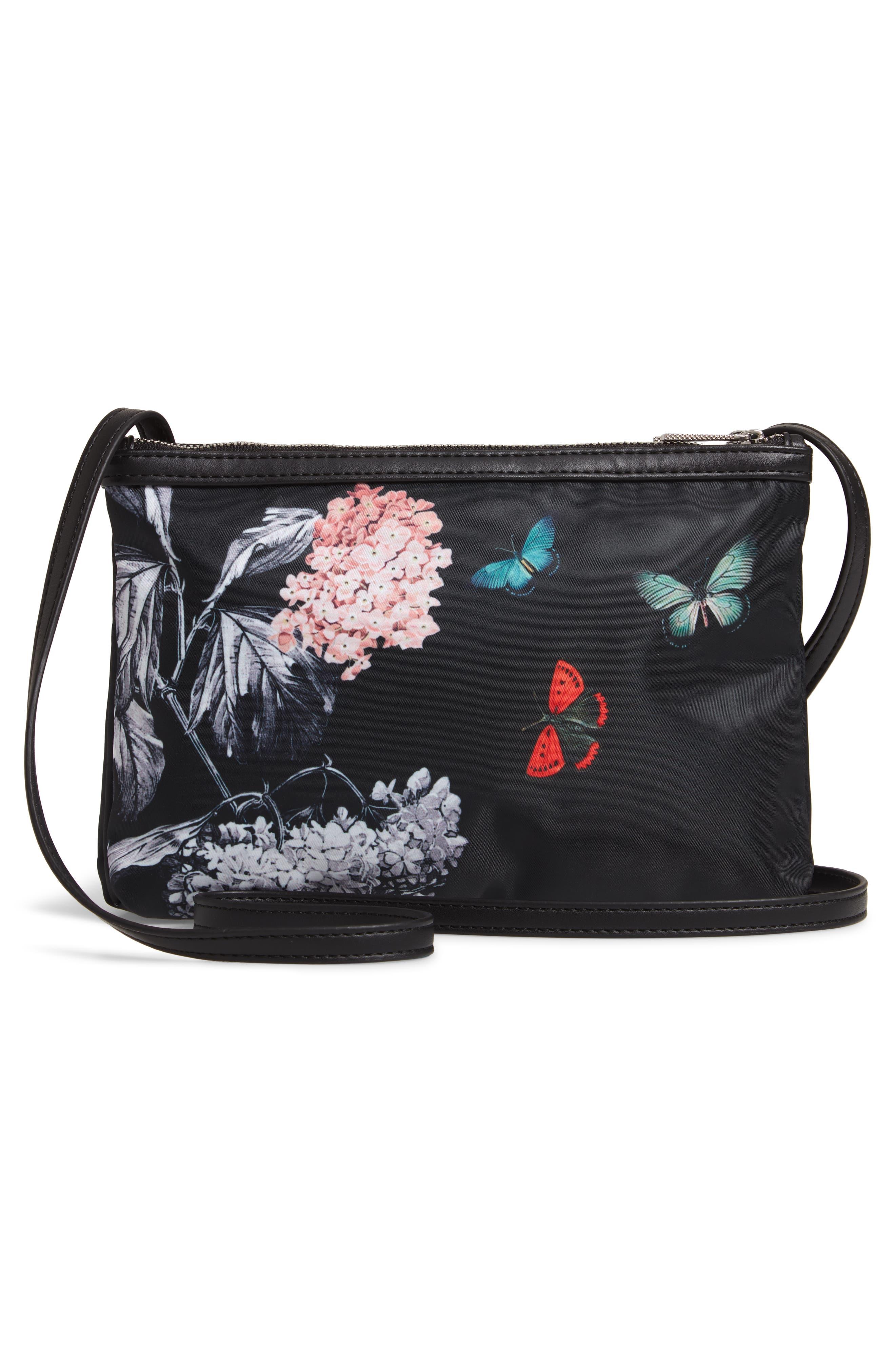 Myyaa Narrnia Nylon Crossbody Bag,                             Alternate thumbnail 3, color,                             BLACK