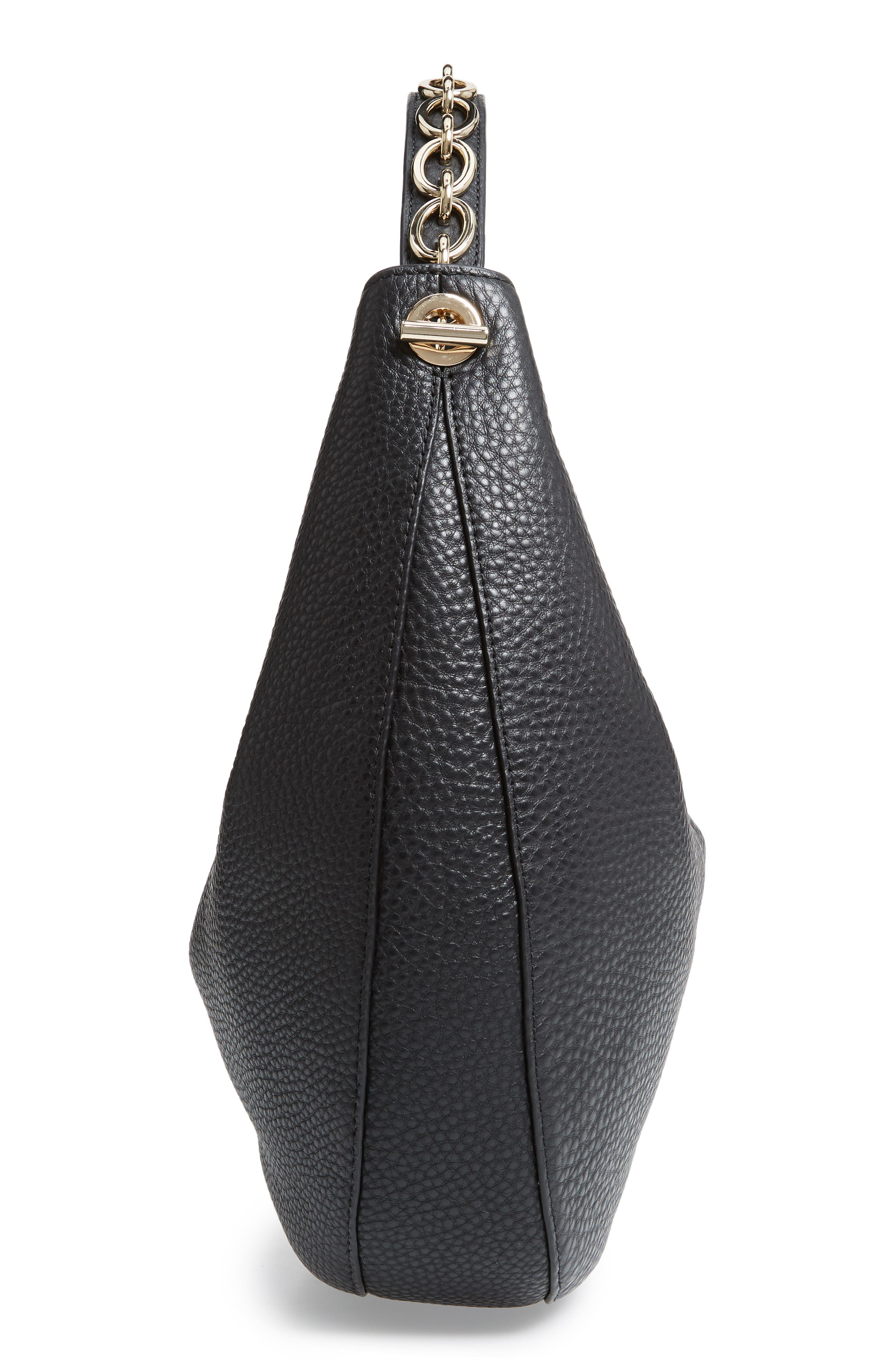 murray street heather pebbled leather hobo bag,                             Alternate thumbnail 5, color,                             BLACK