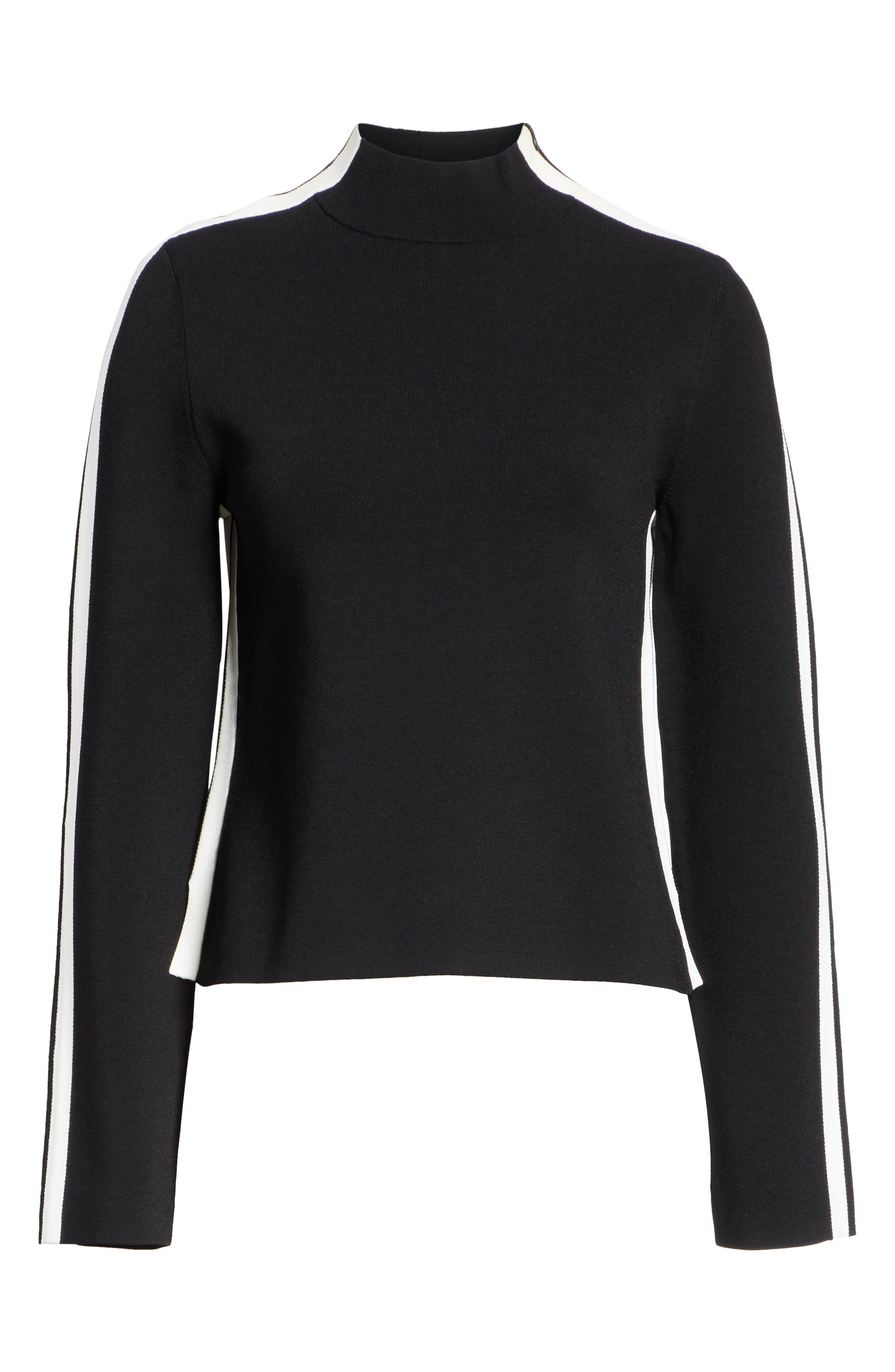 Retha Side Stripe Sweater,                             Alternate thumbnail 6, color,                             BLACK
