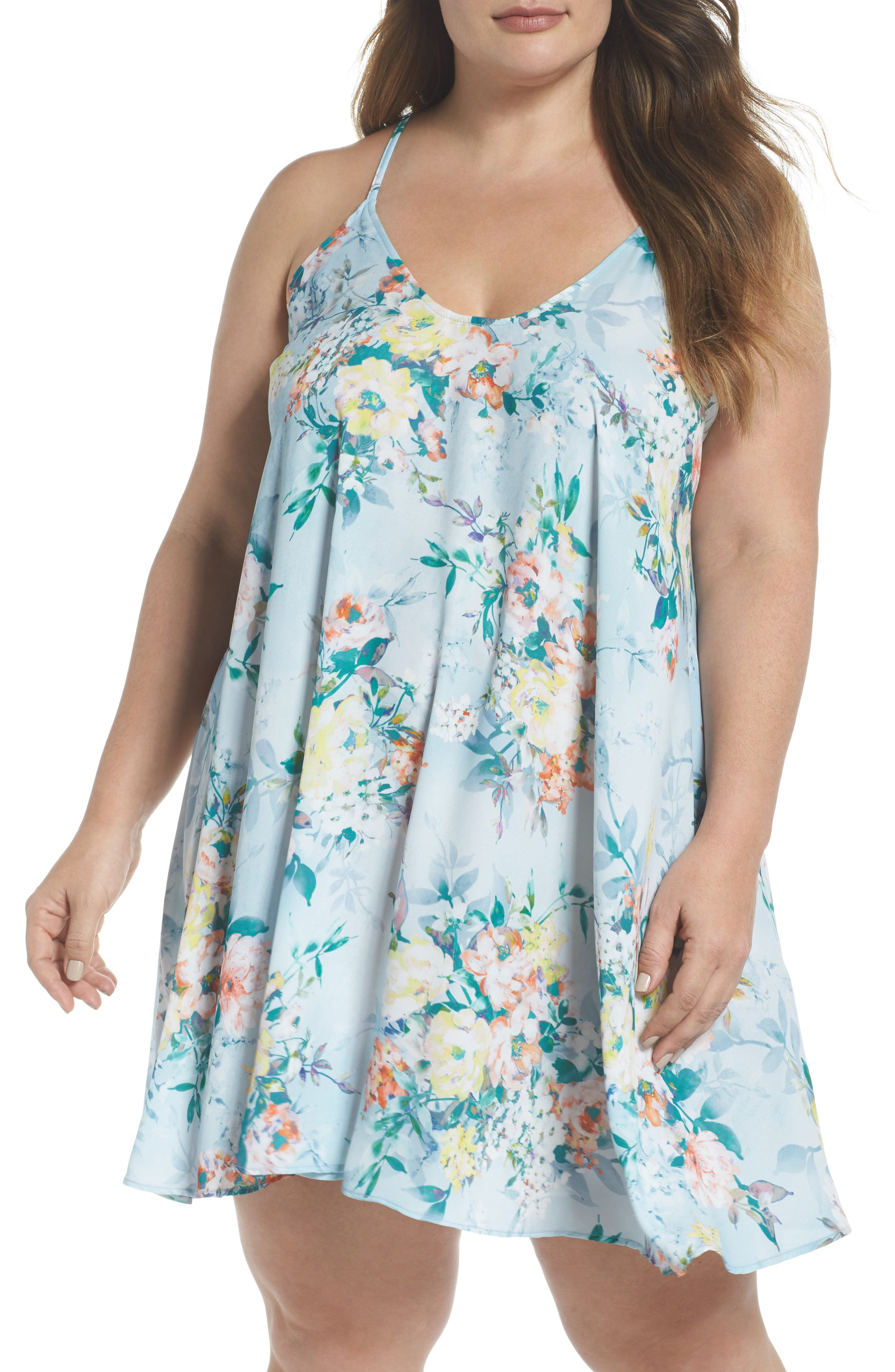 Plus Size Becca Etc. Femme Flora Cover-Up Dress, Blue