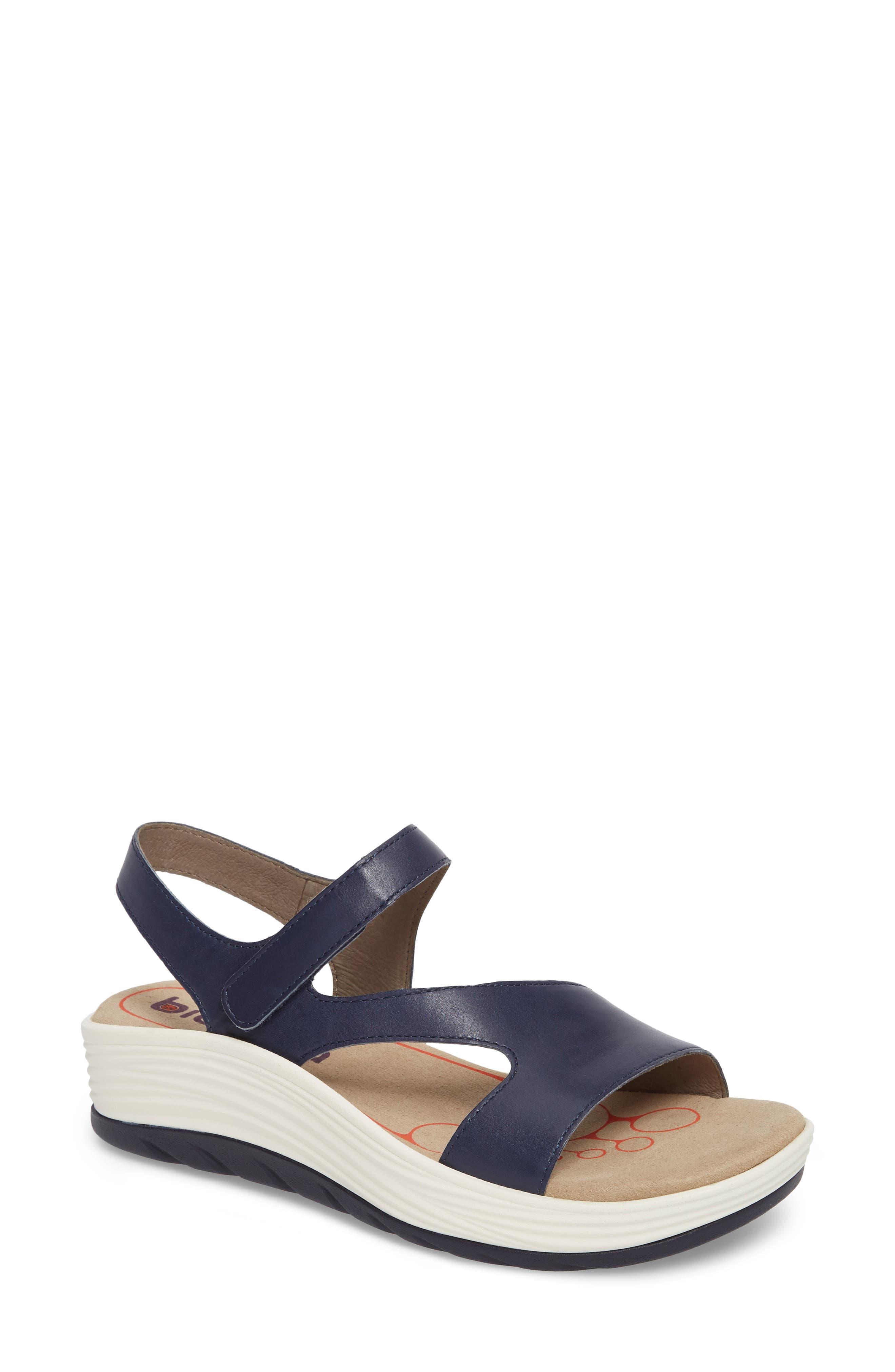 Cybele Platform Sandal,                             Main thumbnail 1, color,                             PEACOAT NAVY LEATHER