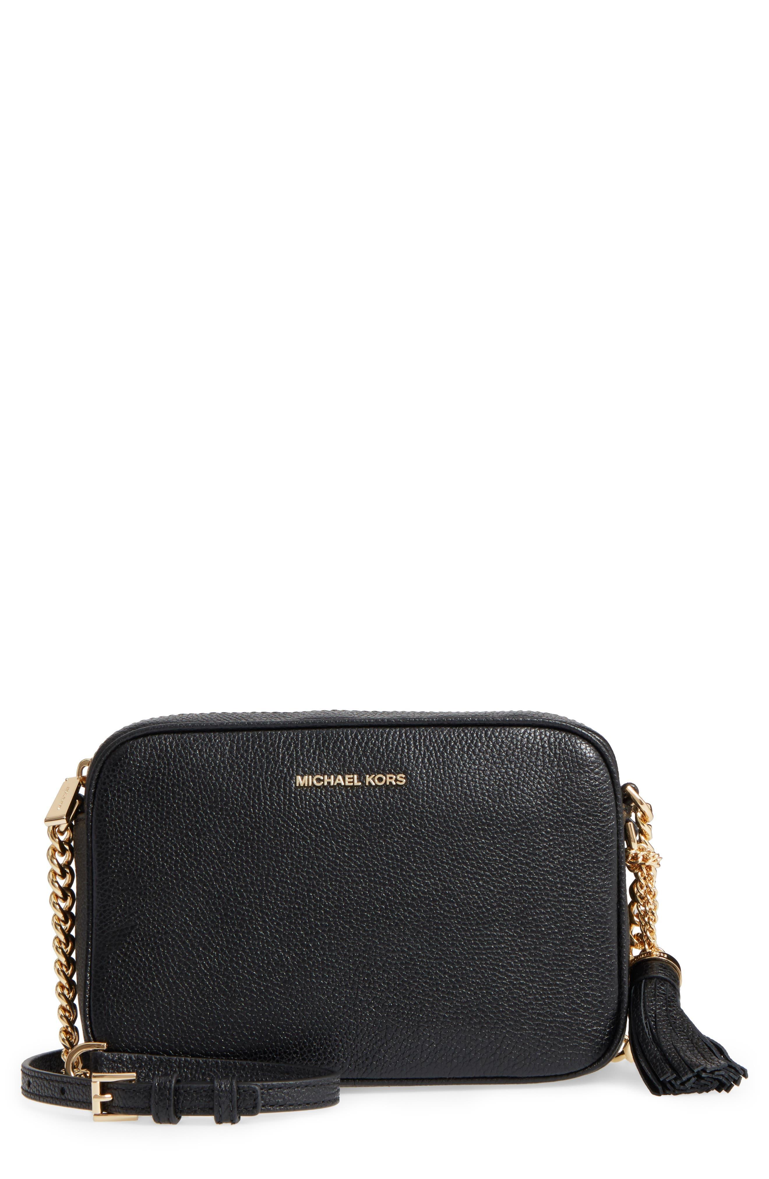 MICHAEL Michael Kors Medium Ginny Leather Camera Bag,                         Main,                         color, 001