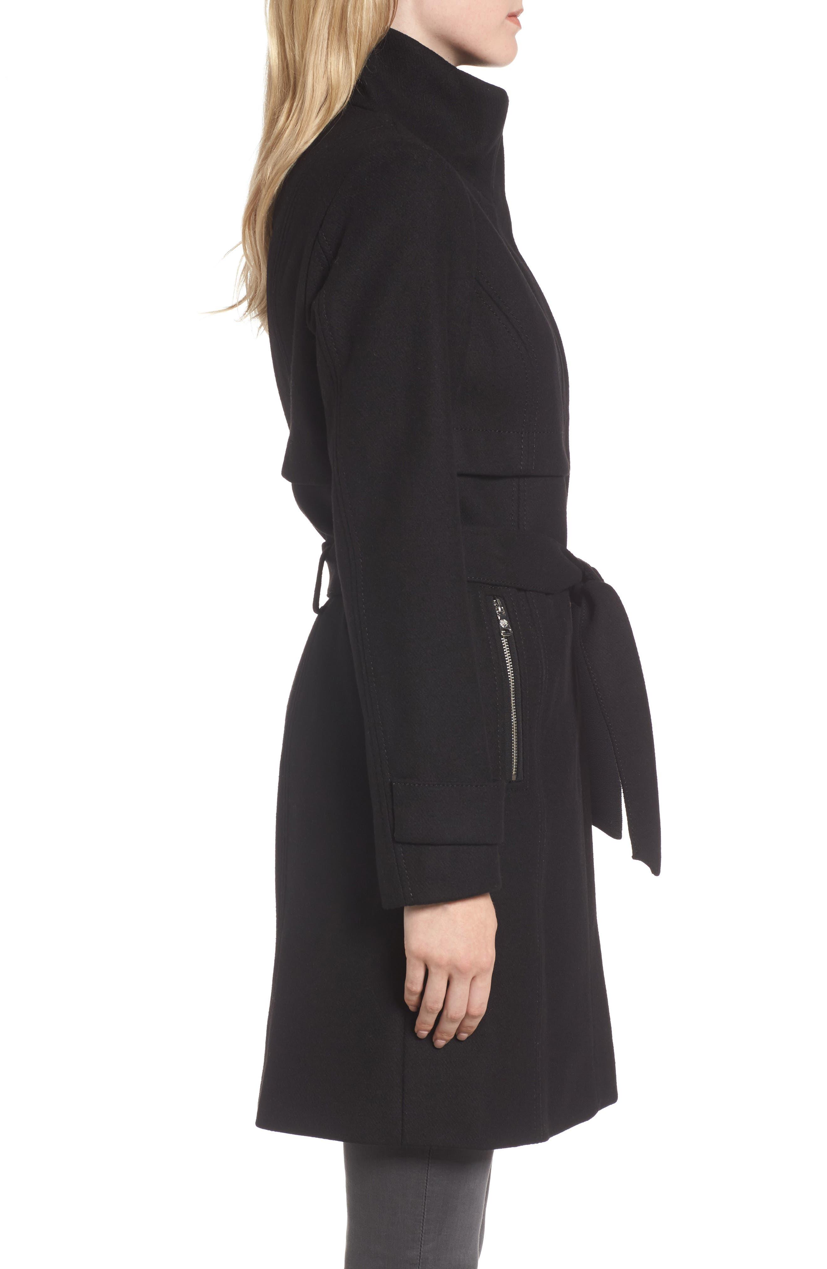 Flange Belted Coat,                             Alternate thumbnail 3, color,                             001