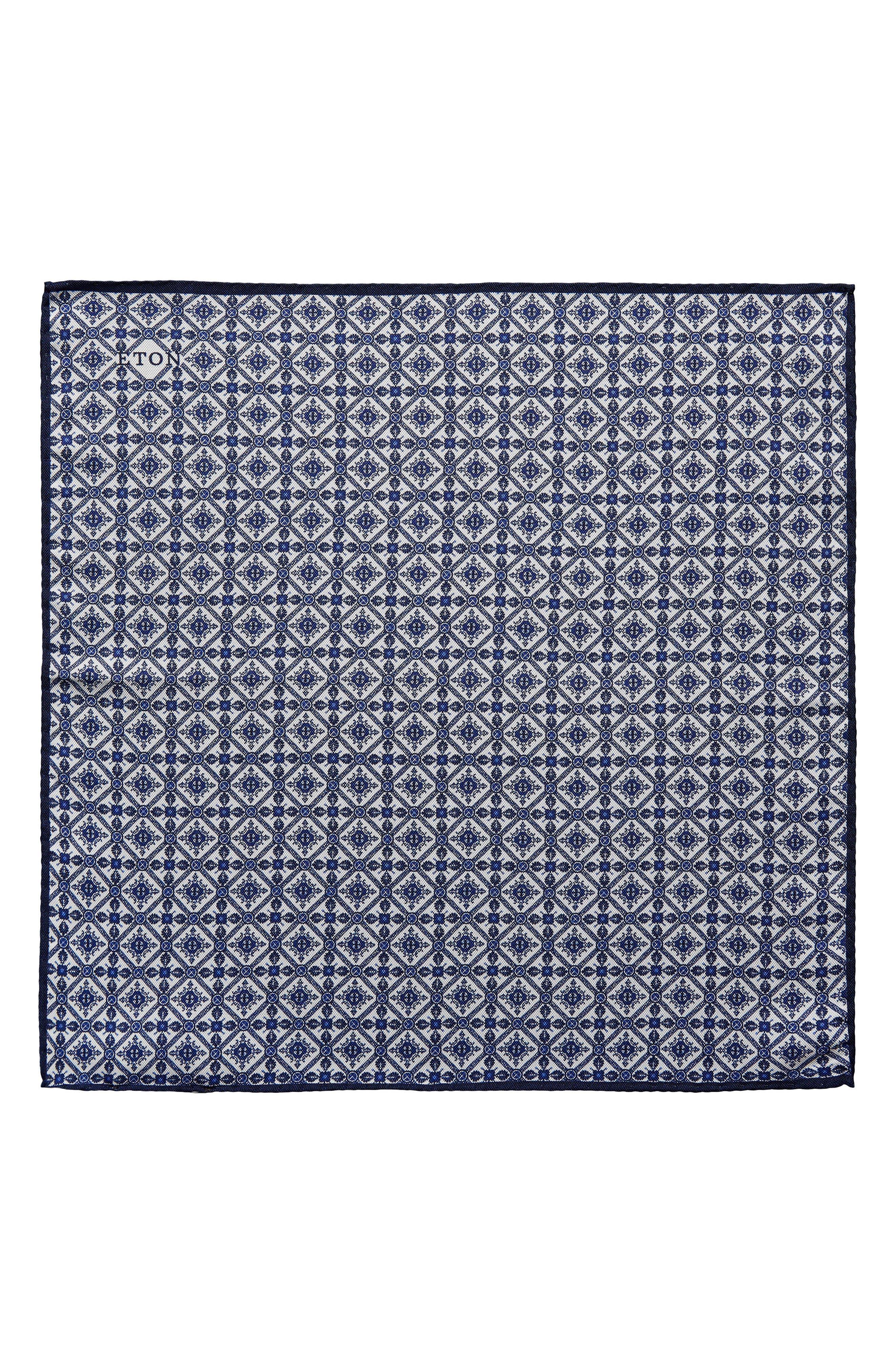 Tile Pocket Silk Pocket Square,                         Main,                         color, BLUE