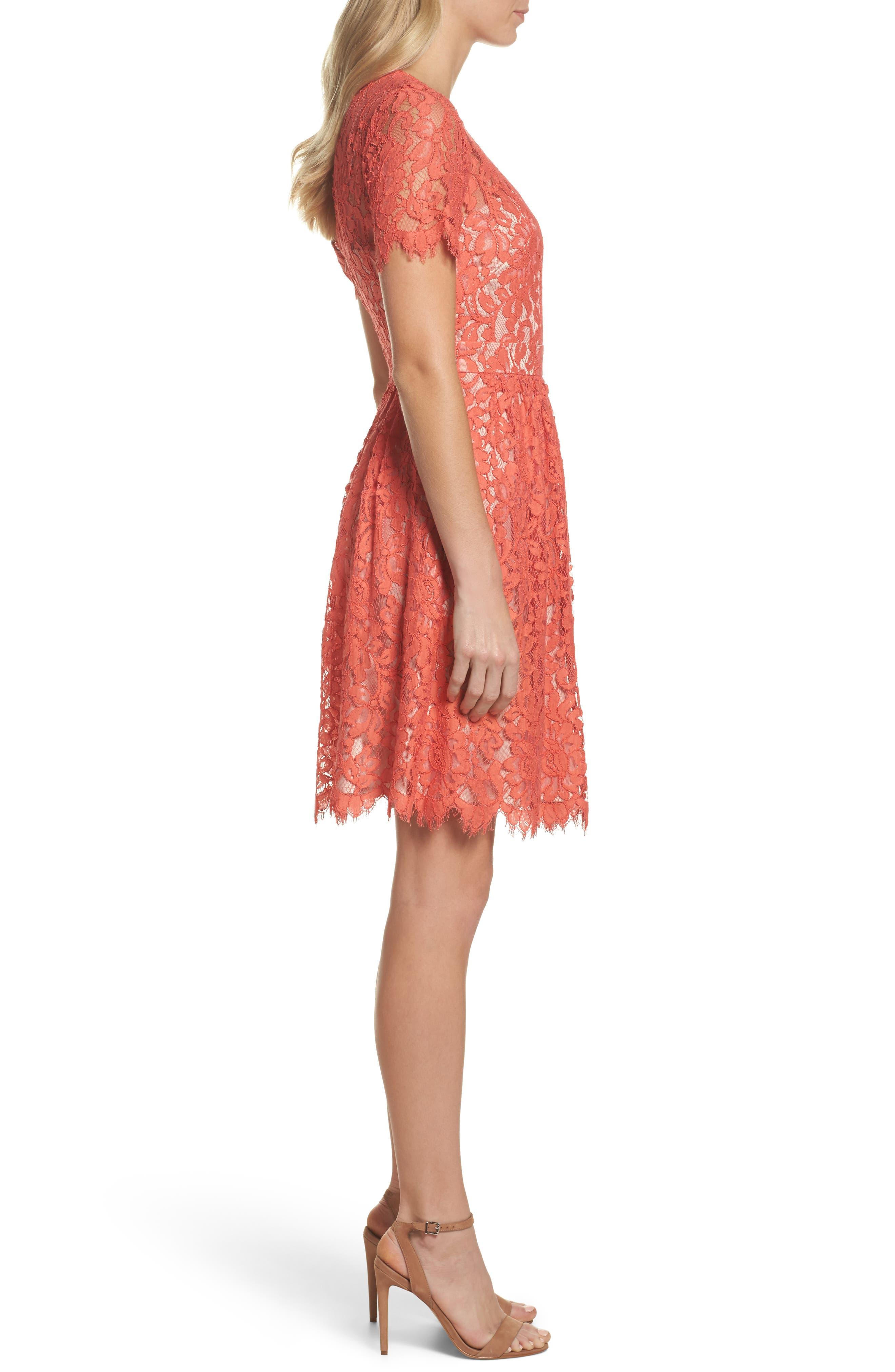 Lace Fit & Flare Dress,                             Alternate thumbnail 3, color,                             651