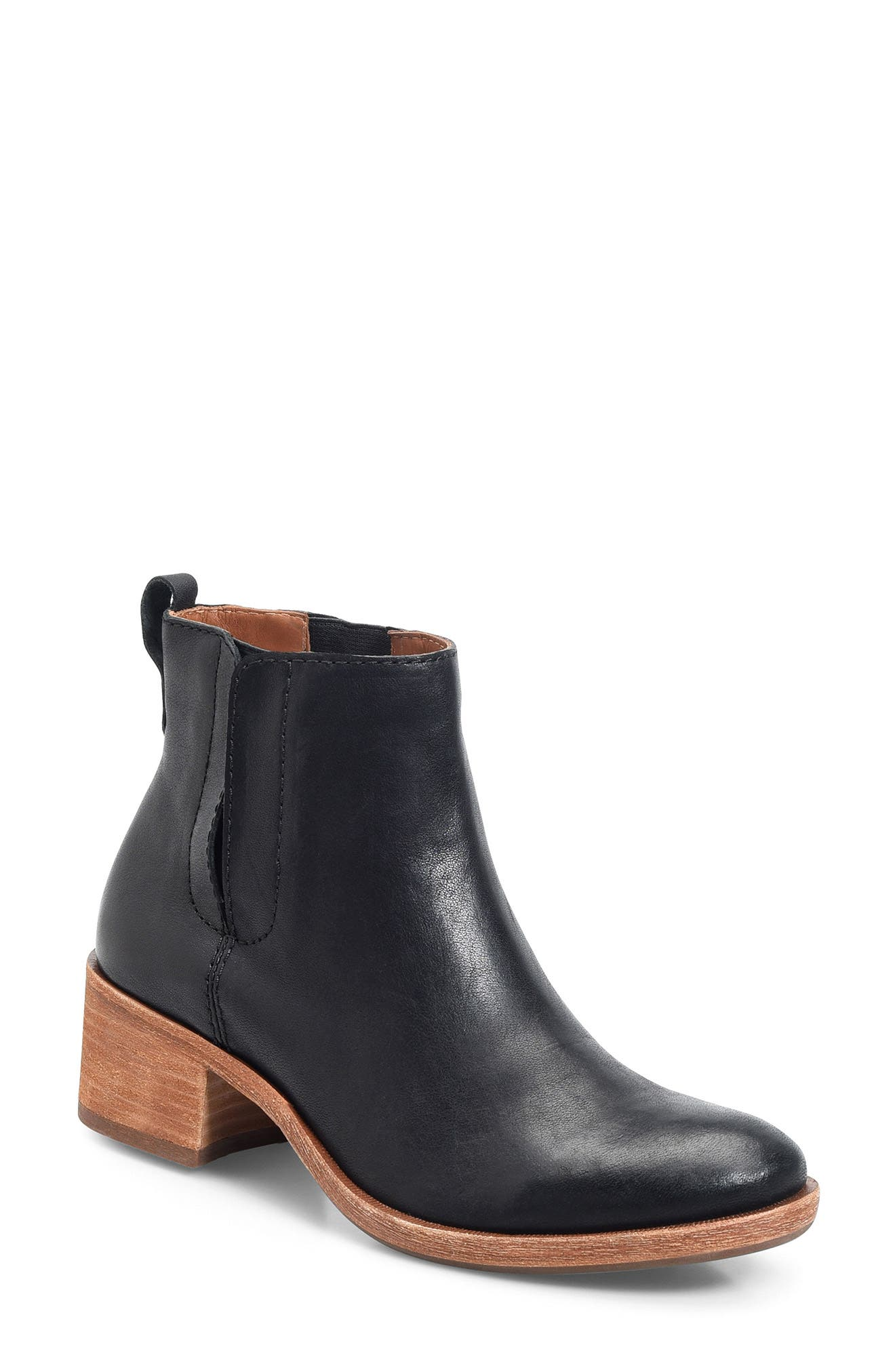 Mindo Chelsea Bootie,                             Main thumbnail 1, color,                             BLACK LEATHER