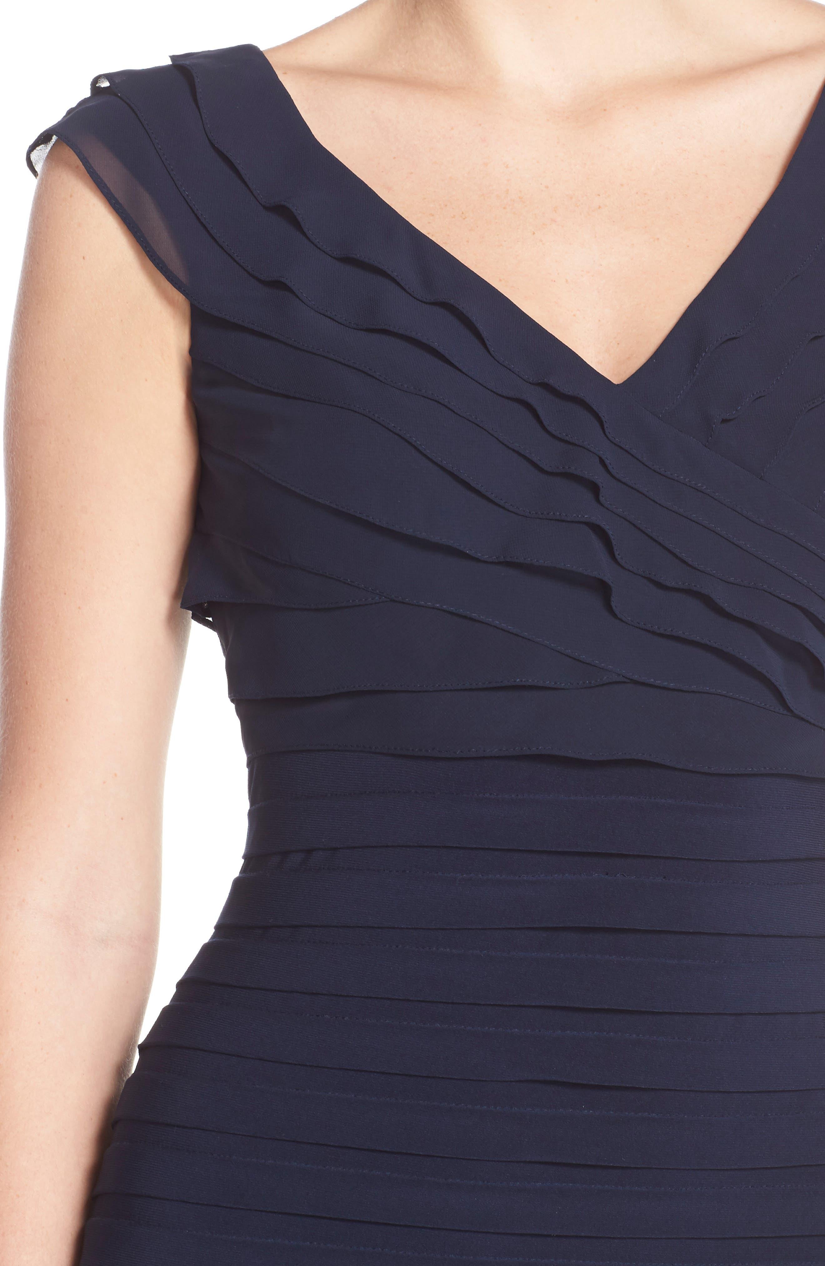 Chiffon & Jersey Sheath Dress,                             Alternate thumbnail 5, color,                             408