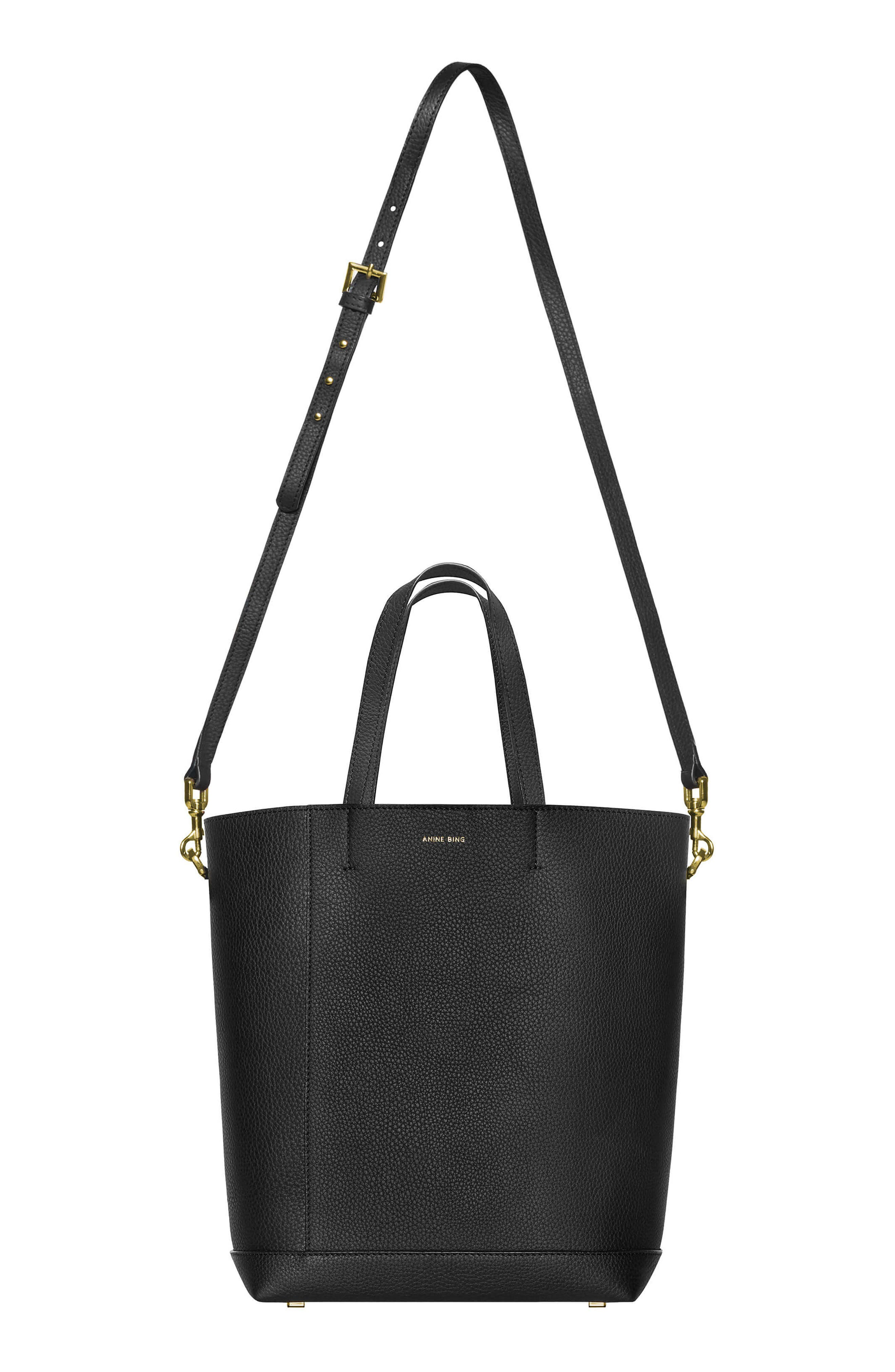 Lyon Water Repellent Leather Tote,                             Alternate thumbnail 2, color,                             BLACK