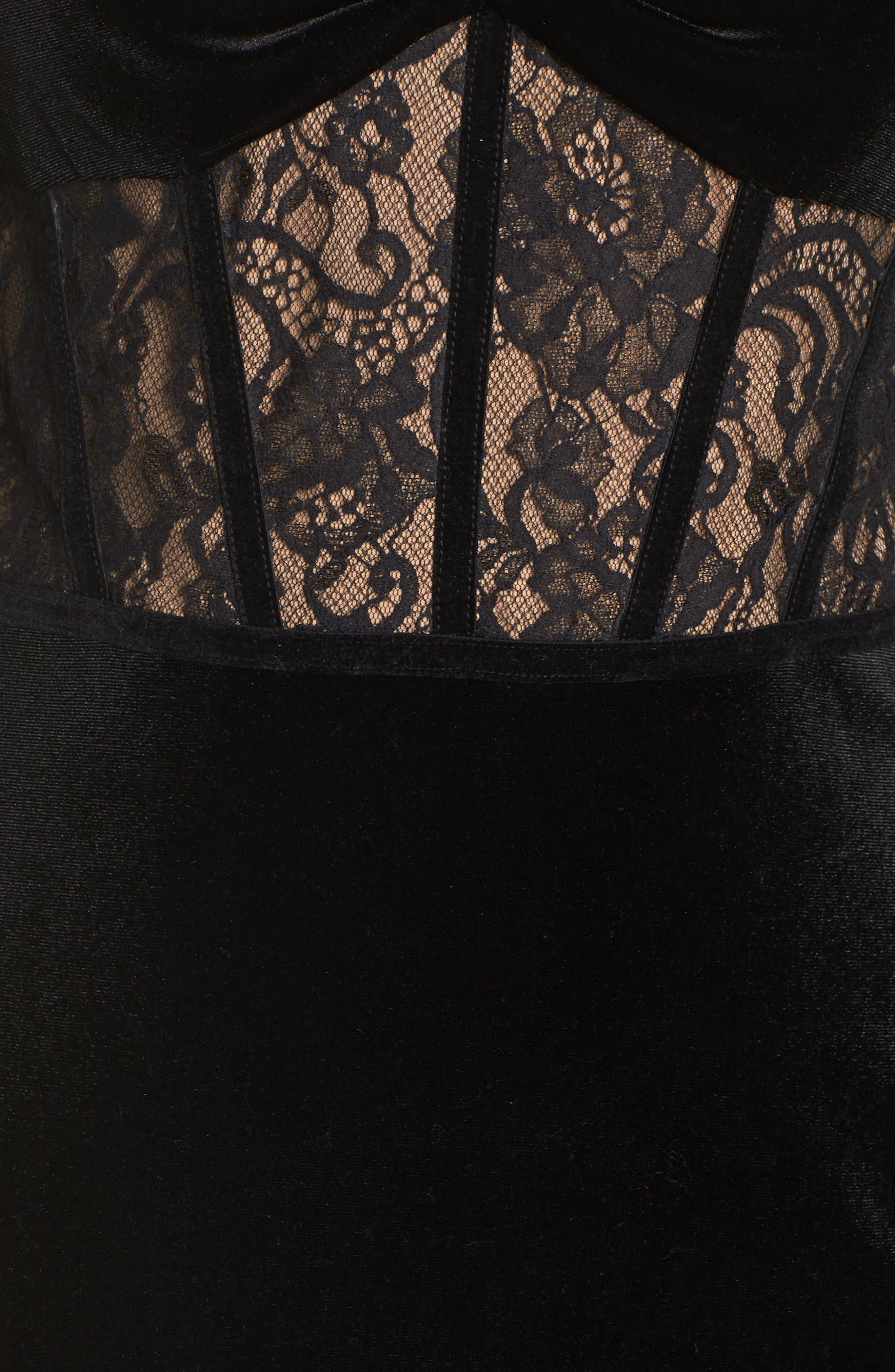 Lace & Velvet Gown,                             Alternate thumbnail 6, color,                             BLACK/ NUDE