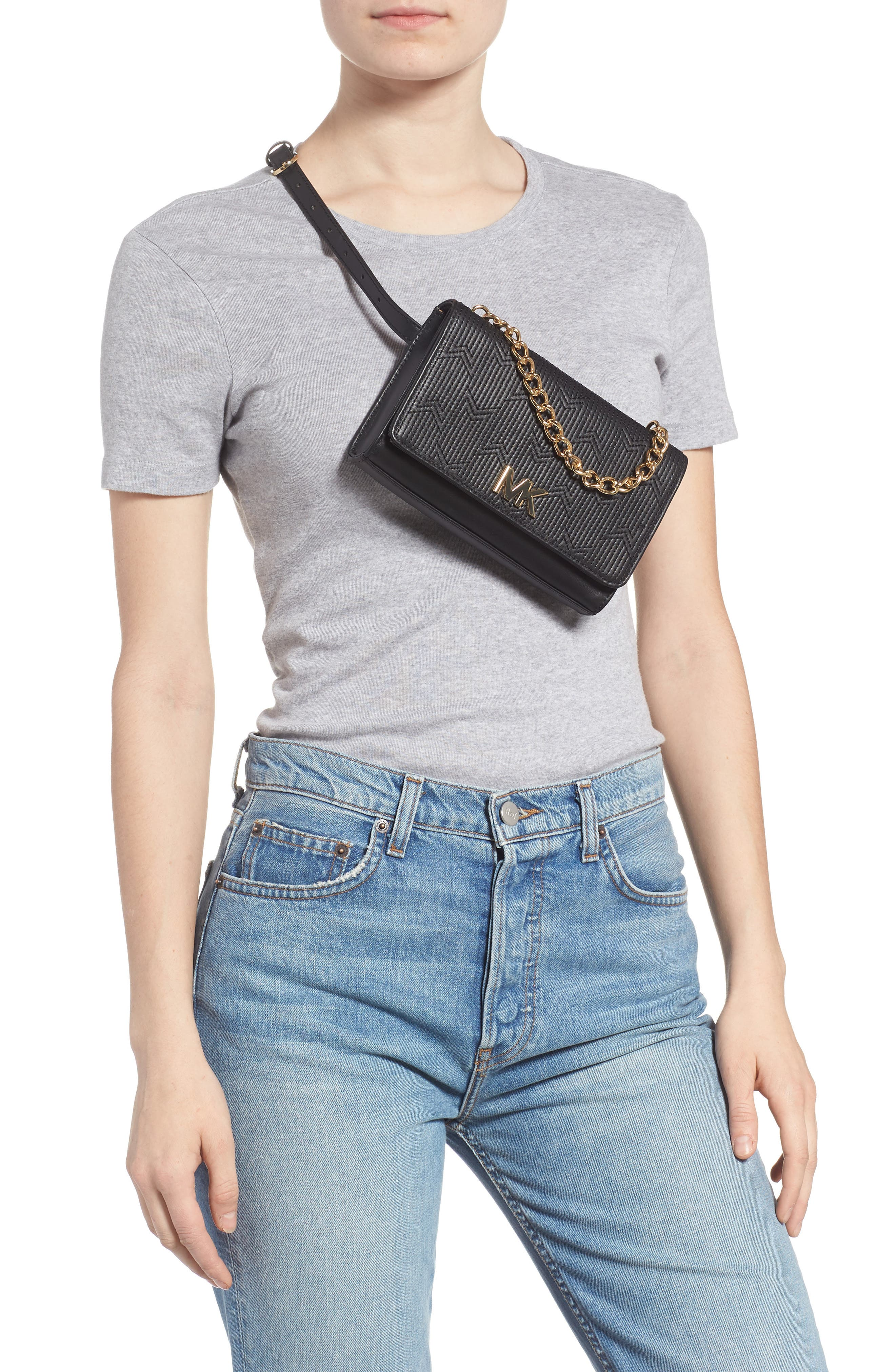 Deco M Quilted Leather Belt Bag,                             Alternate thumbnail 3, color,                             BLACK