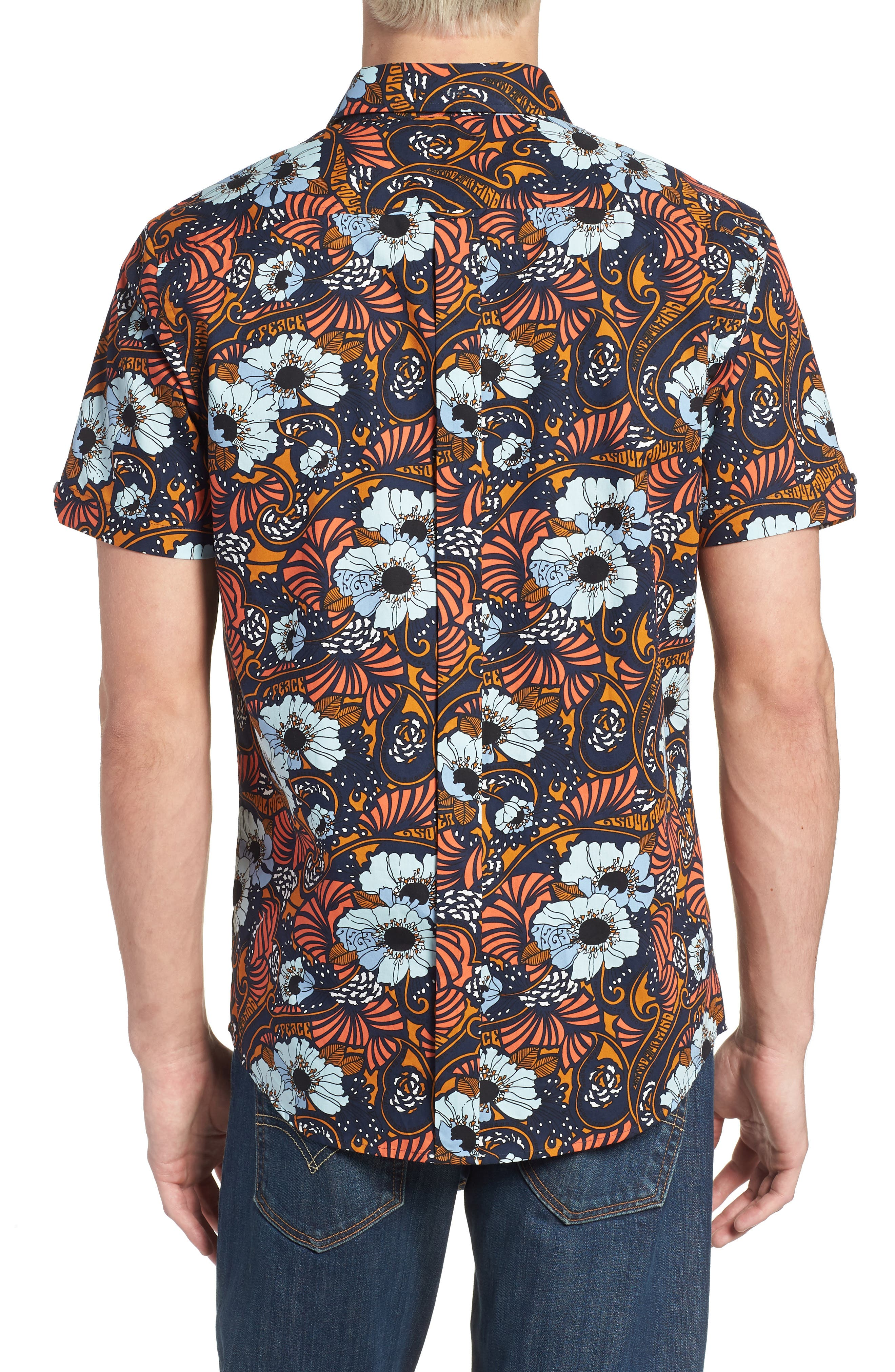 Psychedelic Floral Modern Fit Short Sleeve Sport Shirt,                             Alternate thumbnail 2, color,                             402
