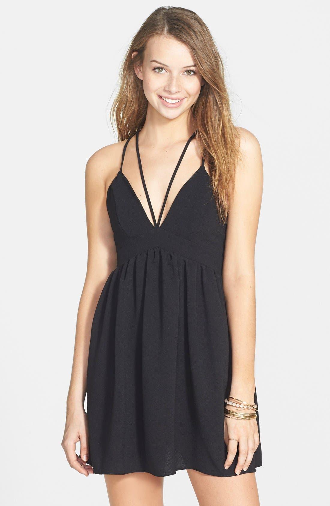BASIL LOLA Strappy Babydoll Dress, Main, color, 001
