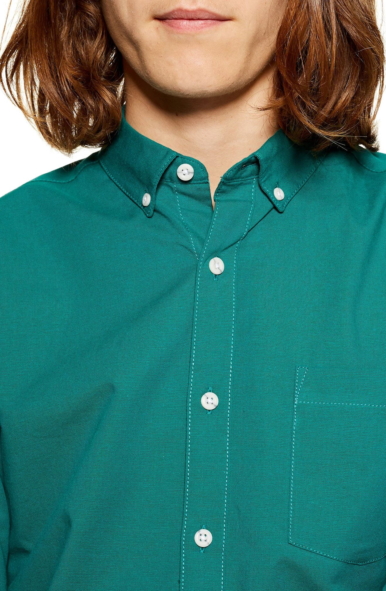 Classic Fit Oxford Shirt,                             Alternate thumbnail 3, color,                             BLUE