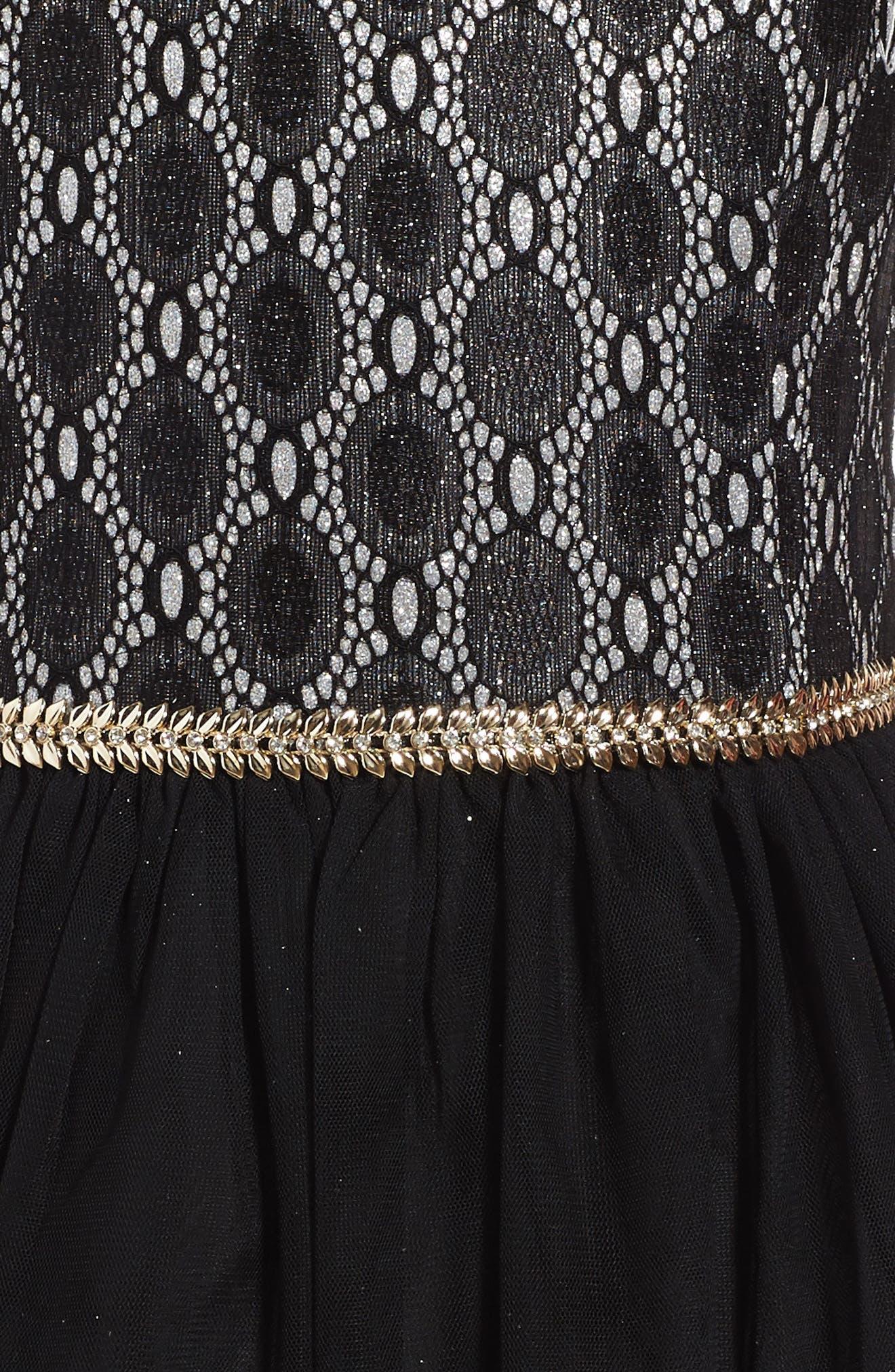 Glitter Lace Dress,                             Alternate thumbnail 3, color,                             001