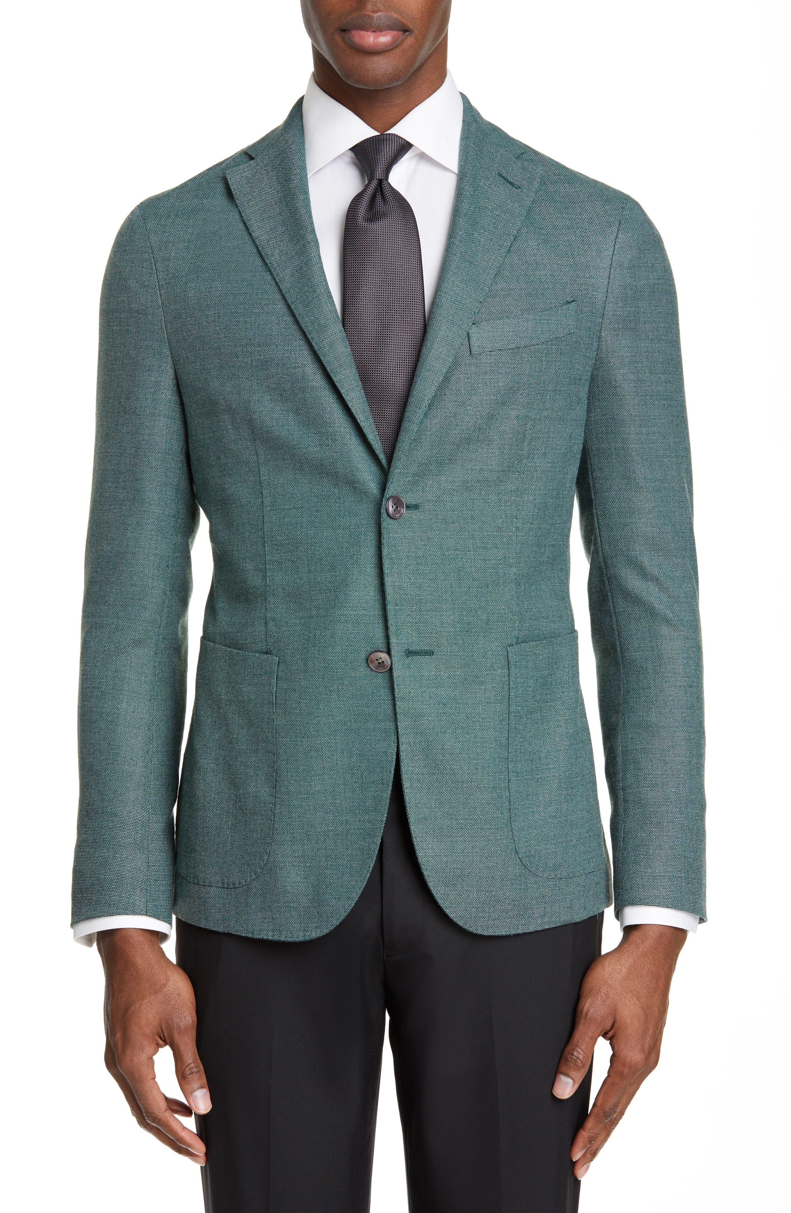 BOGLIOLI,                             Slim Fit Hopsack Wool Blend Sport Coat,                             Main thumbnail 1, color,                             FORREST GREEN