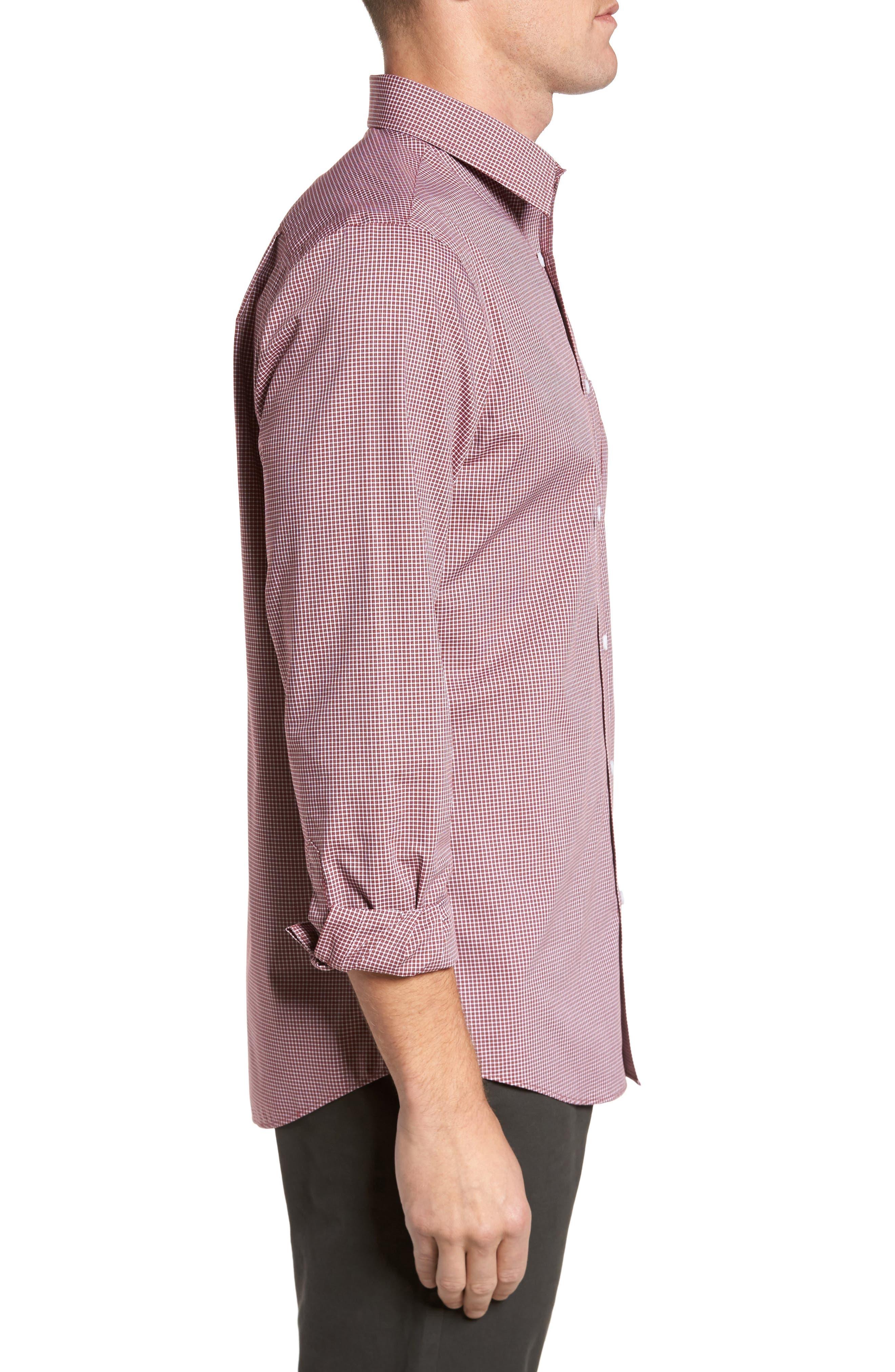 Non-Iron Microcheck Sport Shirt,                             Alternate thumbnail 3, color,                             610