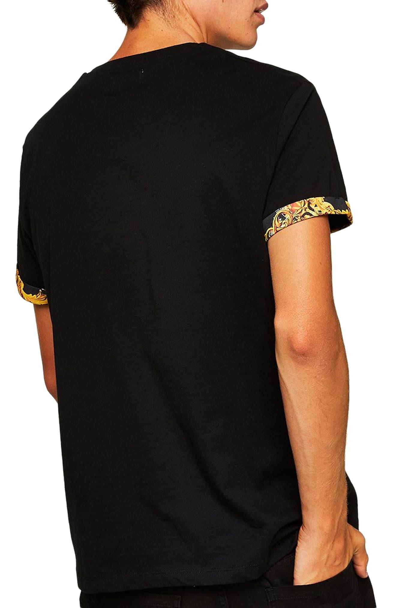 Baroque Trim Roller T-Shirt,                             Alternate thumbnail 2, color,                             BLACK