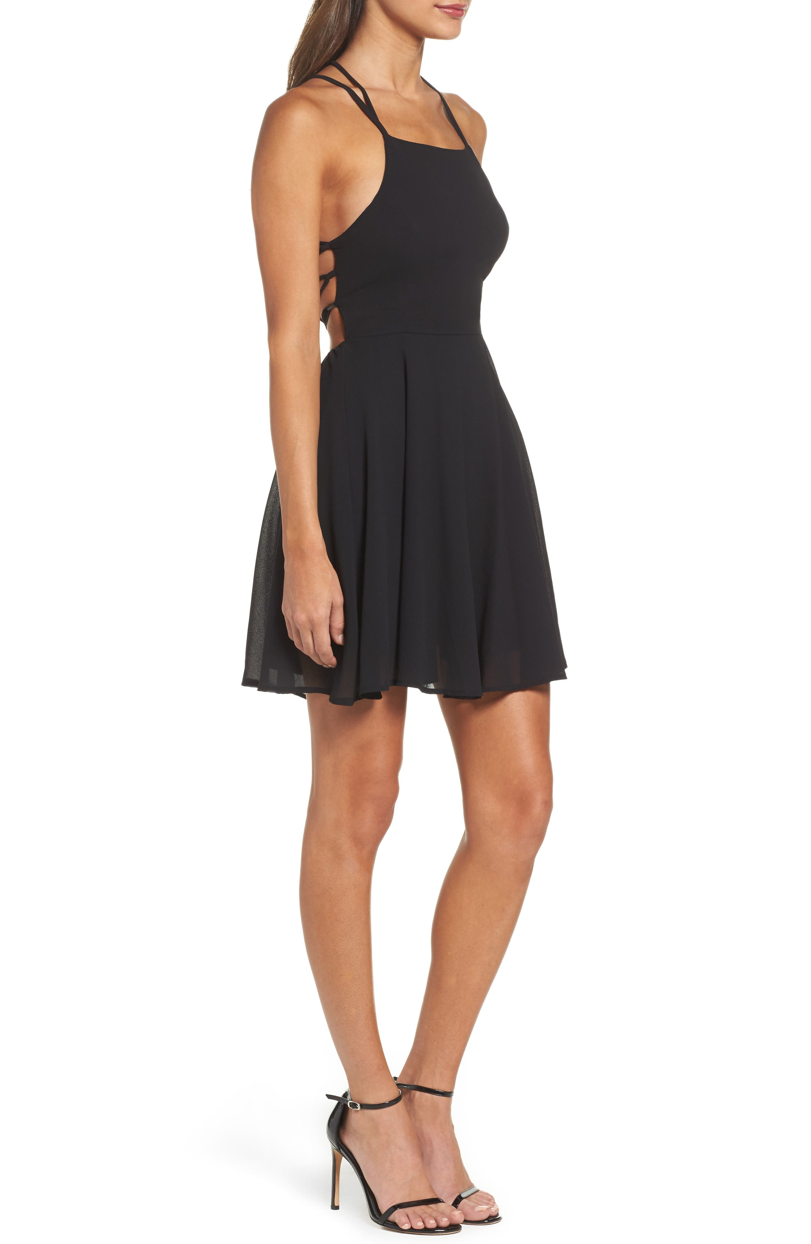 LULUS,                             Good Deeds Lace-Up Skater Dress,                             Alternate thumbnail 3, color,                             BLACK