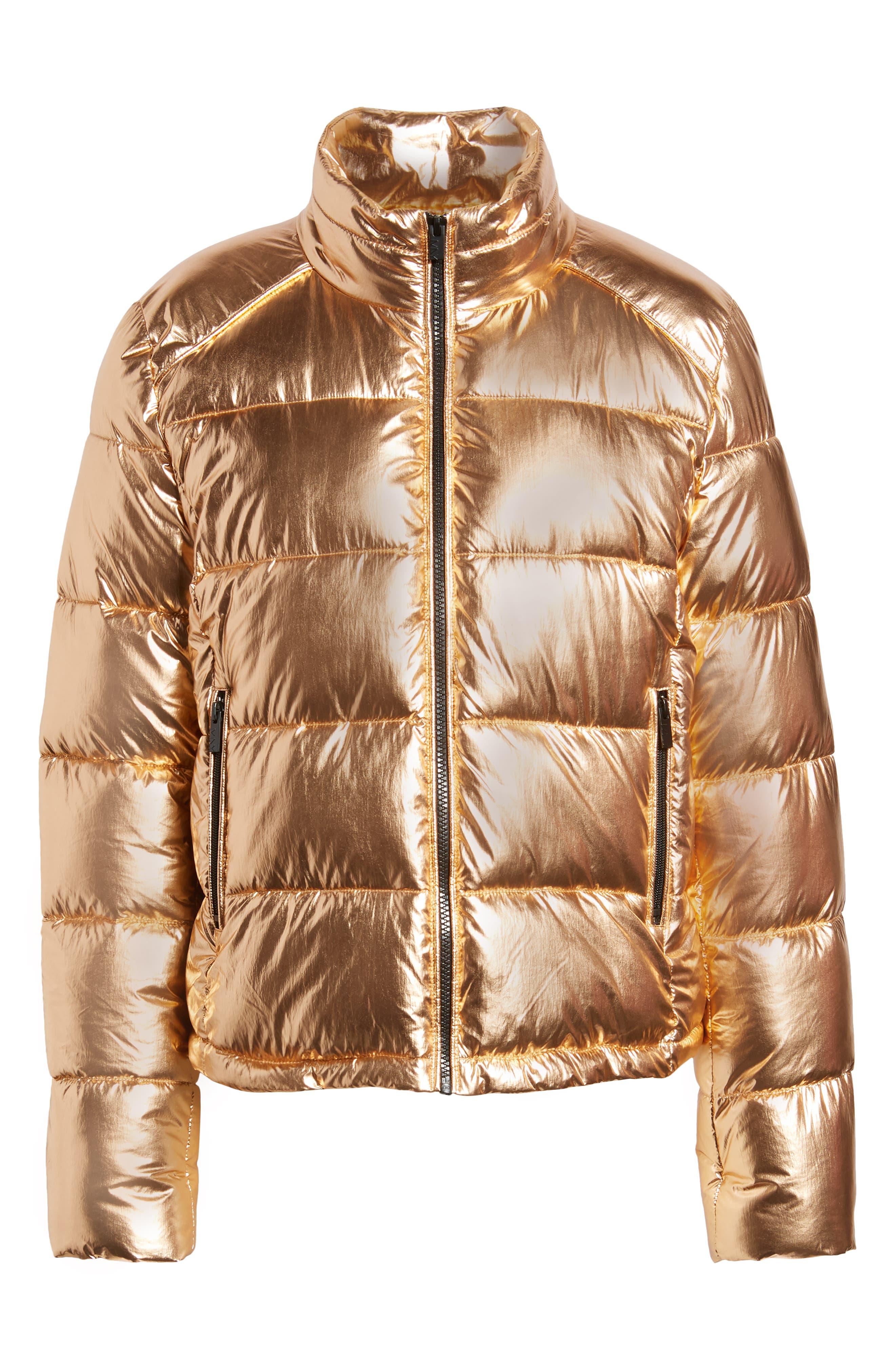 Metallic Puffer Jacket,                             Alternate thumbnail 6, color,                             COPPER