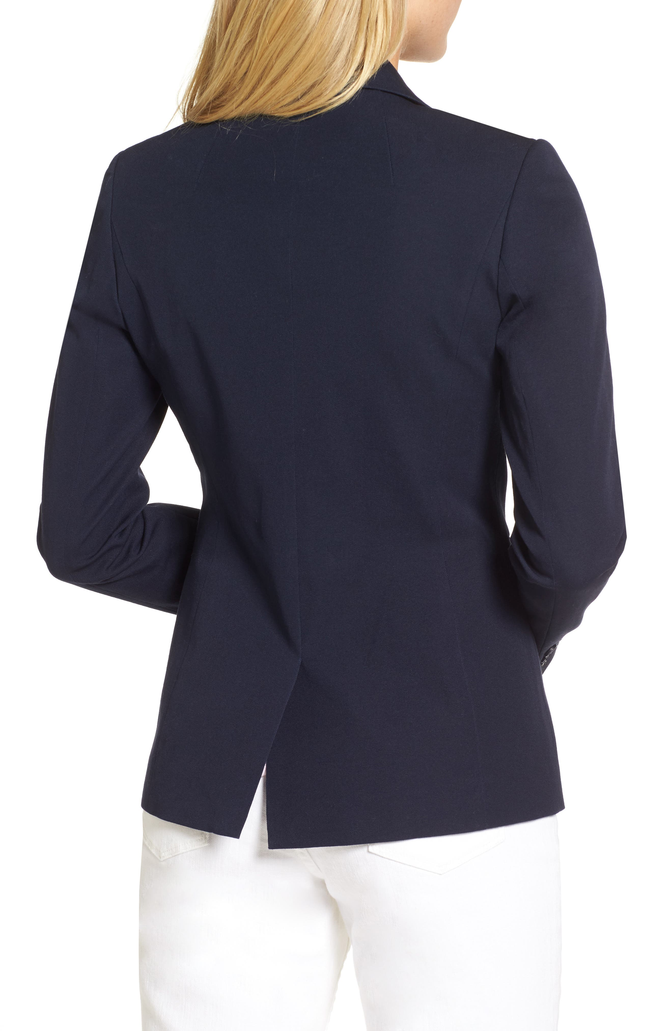 Stretch Cotton Twill Blazer,                             Alternate thumbnail 2, color,                             NAVY NIGHT