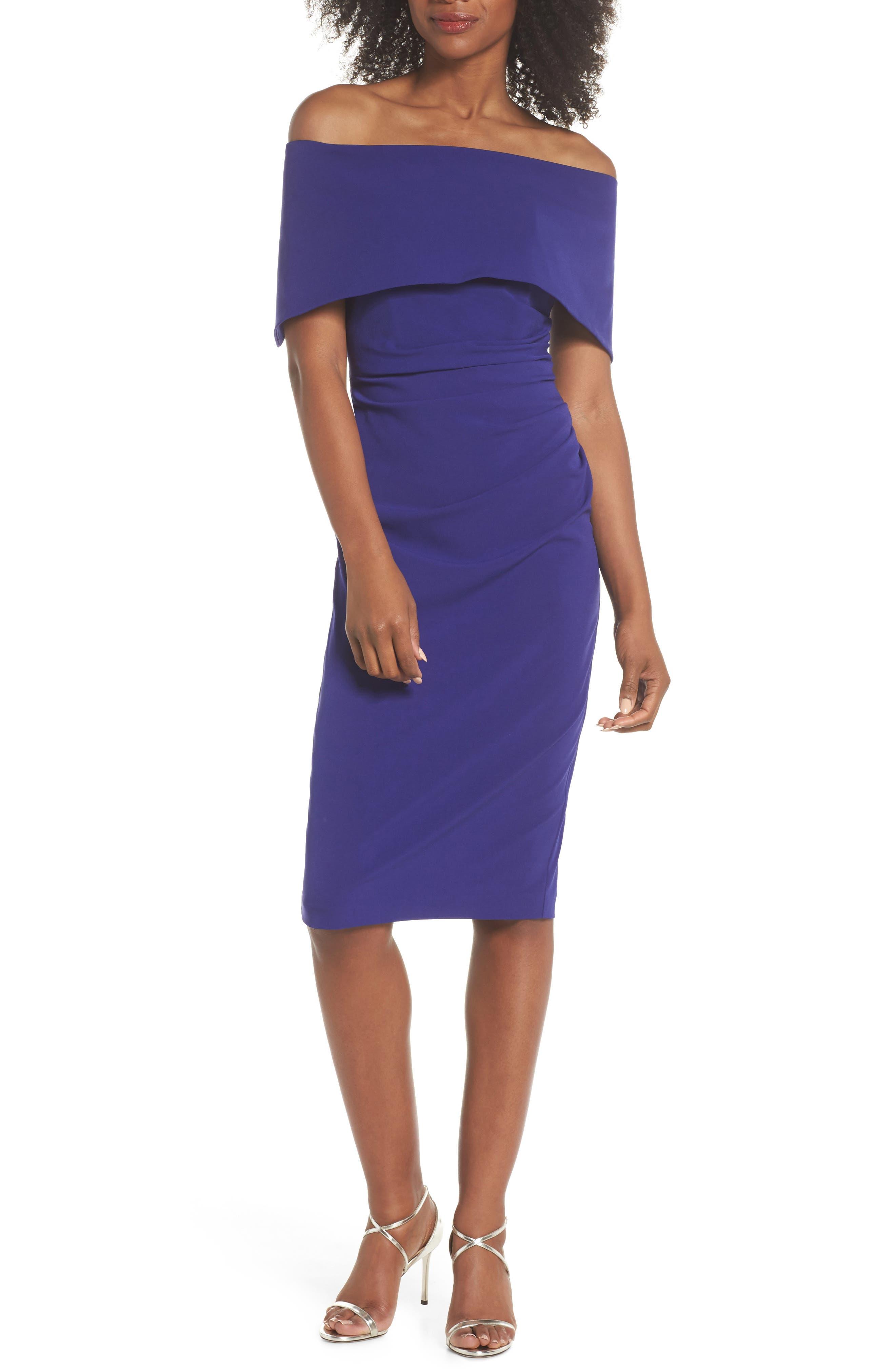 Petite Vince Camuto Popover Midi Dress, Blue