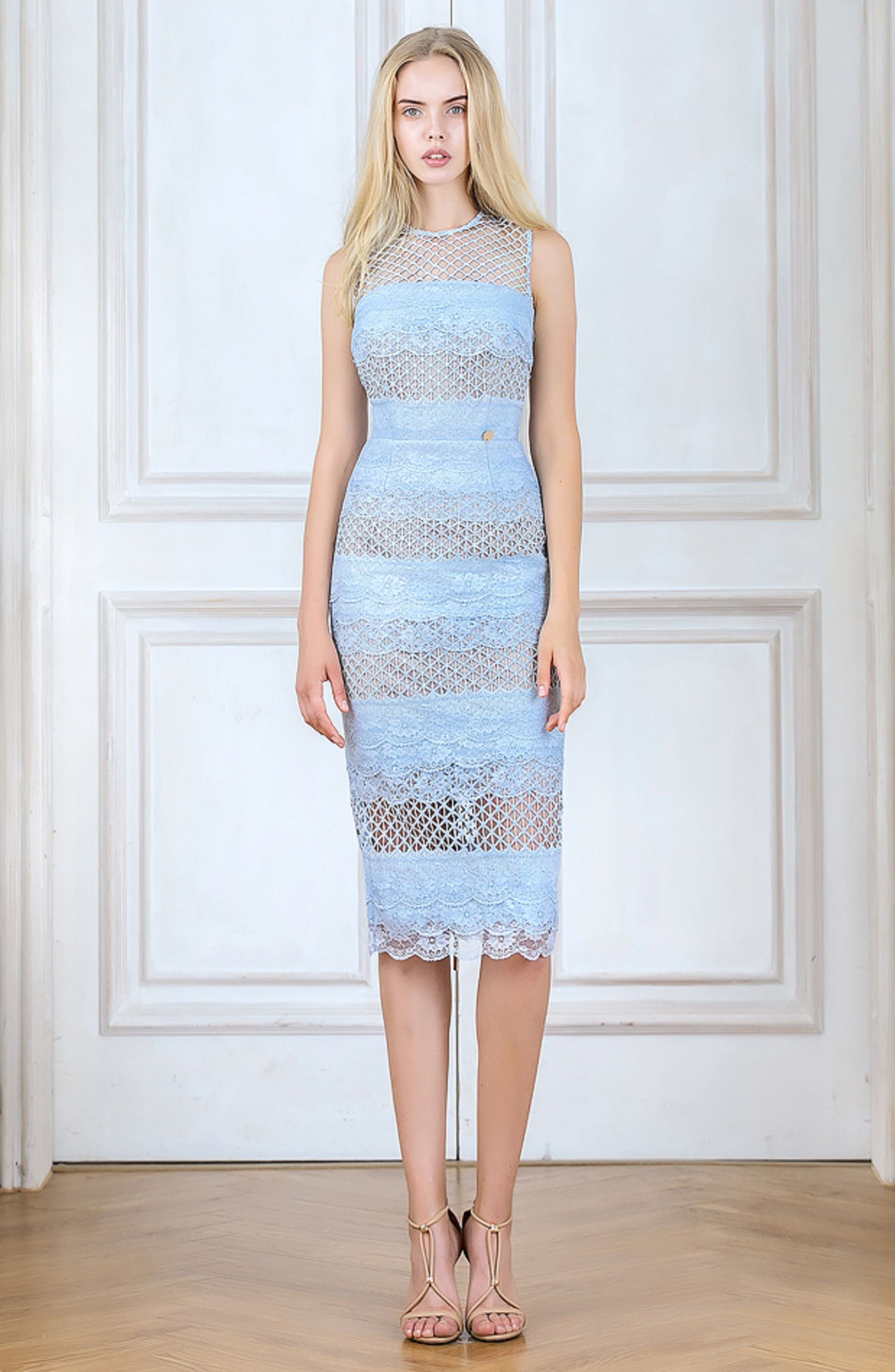 Sienna Lace Panel Sheath Dress,                             Alternate thumbnail 9, color,