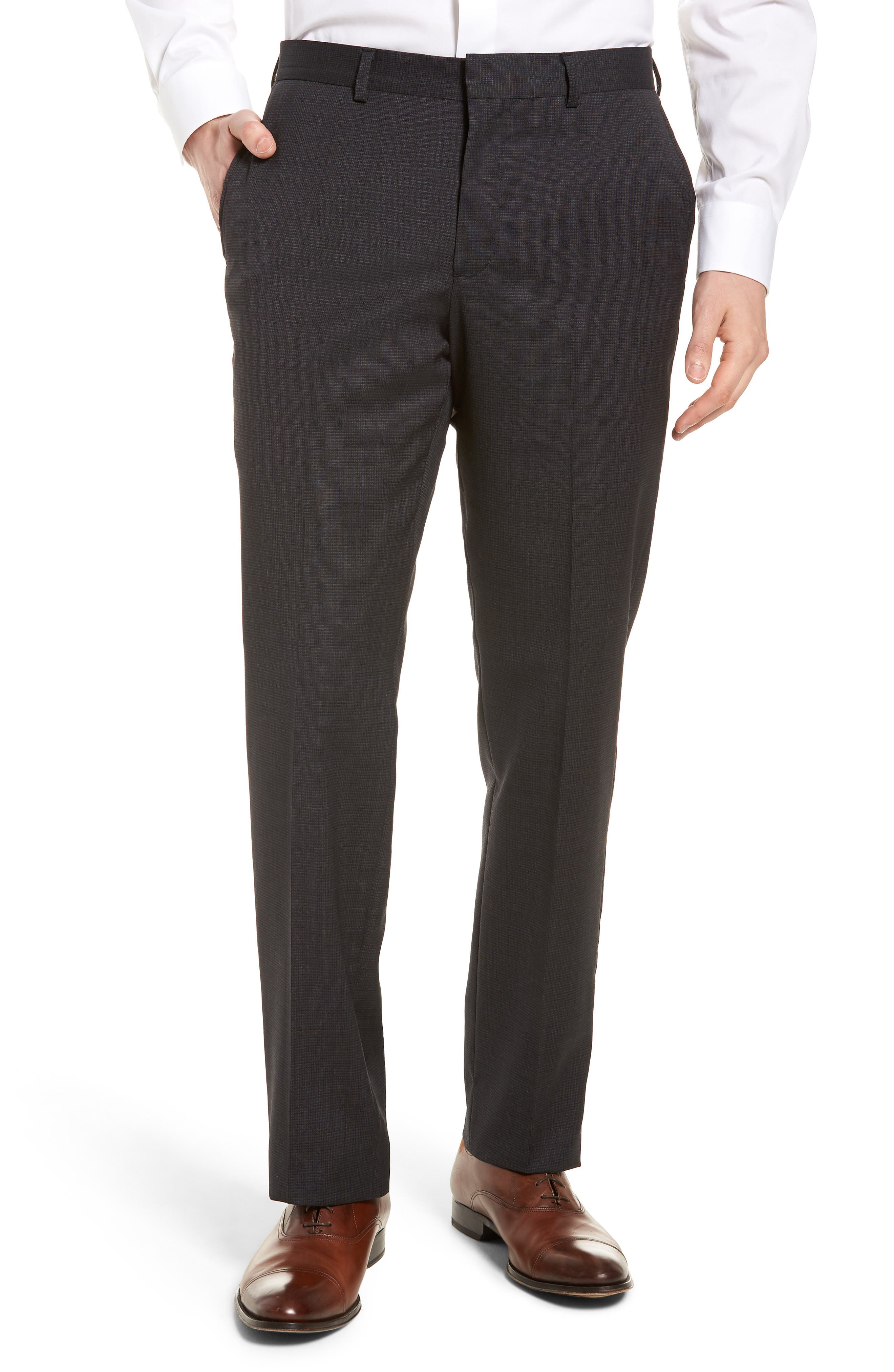 Tech-Smart Flat Front Stretch Wool Pants,                         Main,                         color, 021