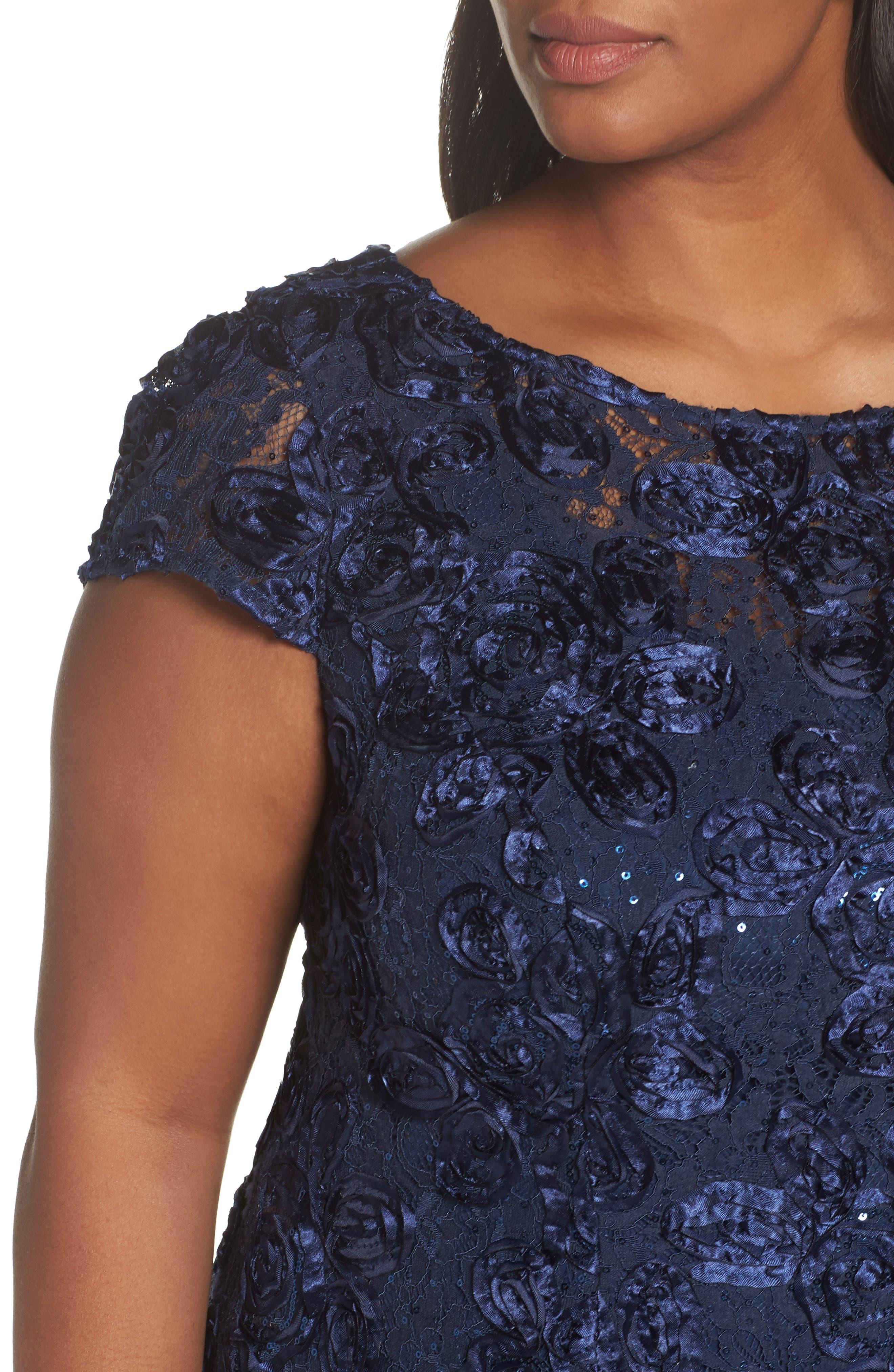 Rosette Fit & Flare Dress,                             Alternate thumbnail 4, color,                             410