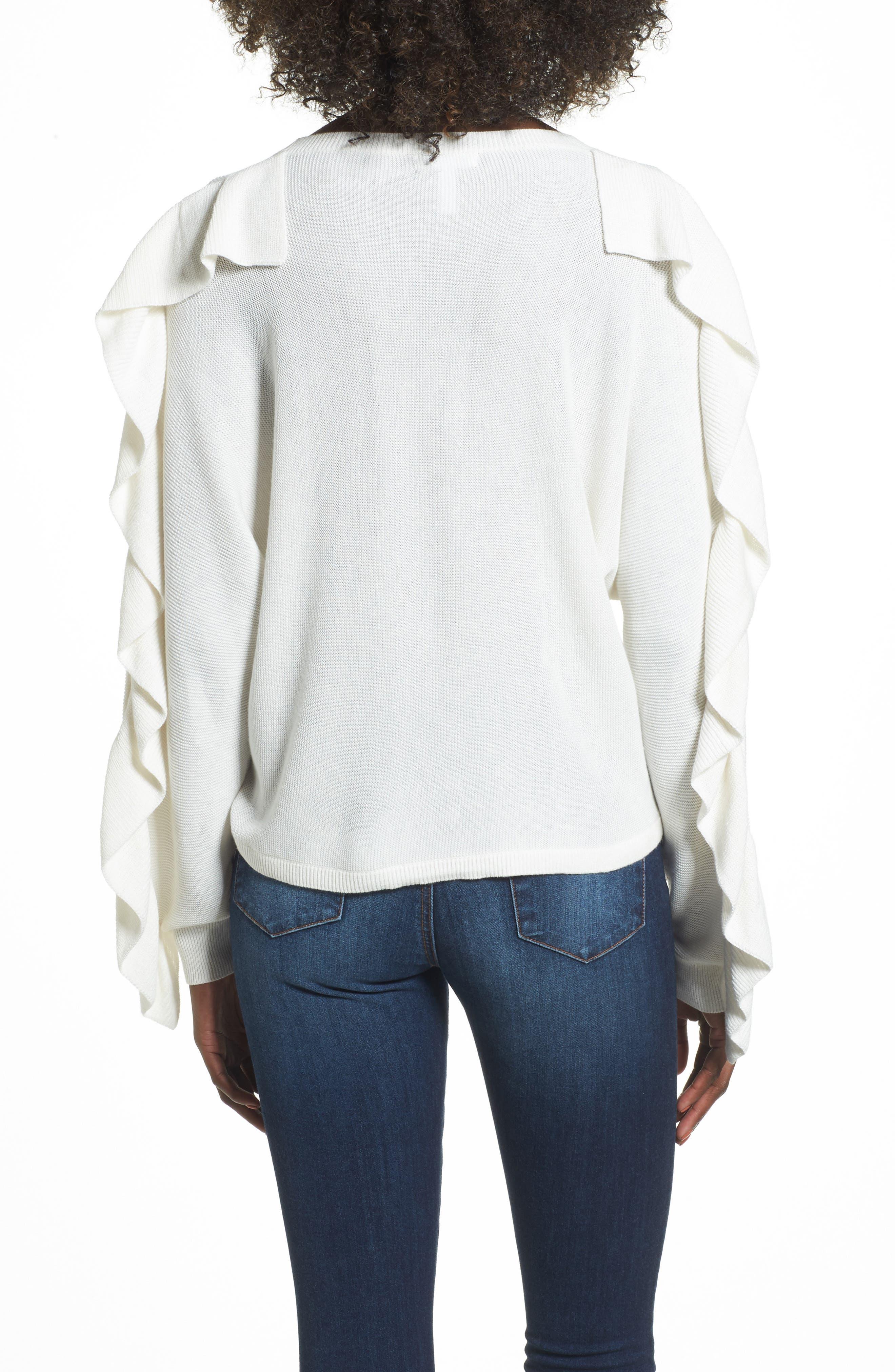 Ruffle Sleeve Sweater,                             Alternate thumbnail 8, color,
