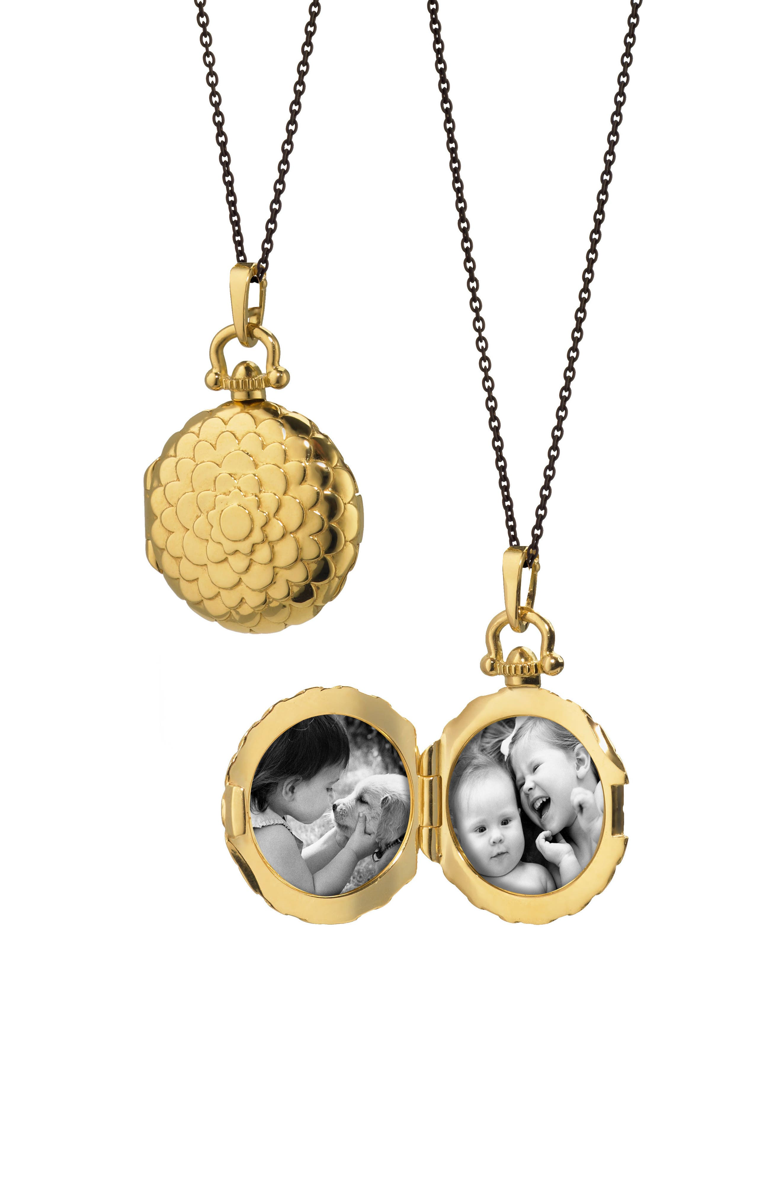 Scalloped Locket Necklace,                             Main thumbnail 1, color,                             18K YELLOW GOLD/ BLACK STEEL